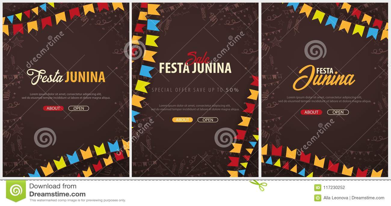 Uppsättning av Festa Junina bakgrunder med beståndsdelar för handattraktionklotter och partiflaggor Brasilien eller latin - ameri