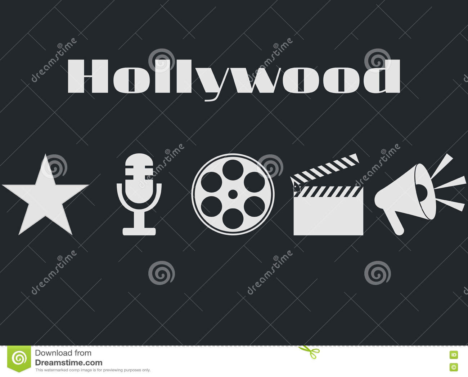 Uppsättning av filmdesignbeståndsdelar och biosymboler Hollywood symbolsuppsättning