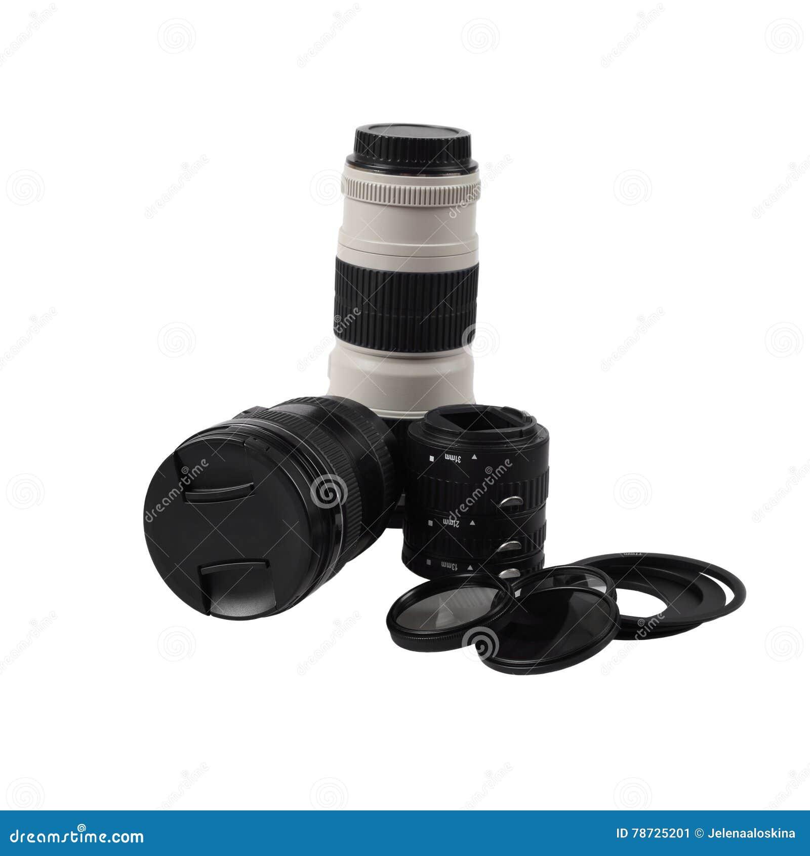 Uppsättning av fotografiska tillbehör och linser