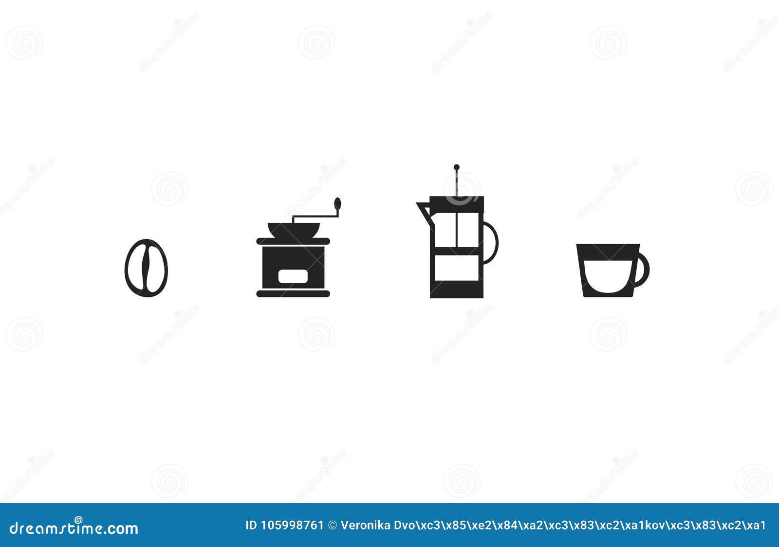 Uppsättning av fyra enkla symboler med kaffetema: Kaffeböna, klassisk molar, franskapresskokkärl och liten kopp