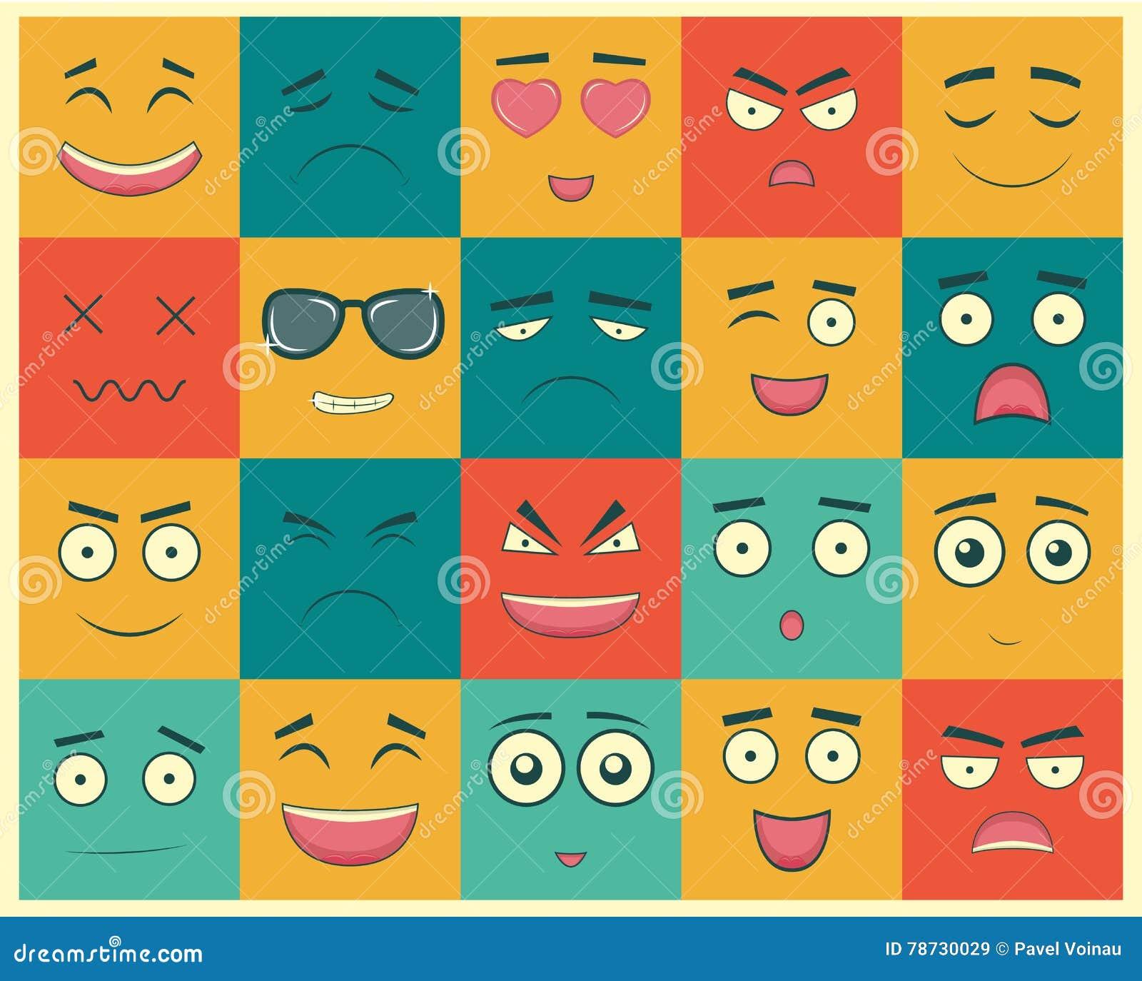 Uppsättning av fyrkantiga emoticons Emoticon för webbplatsen, pratstund, sms vektor