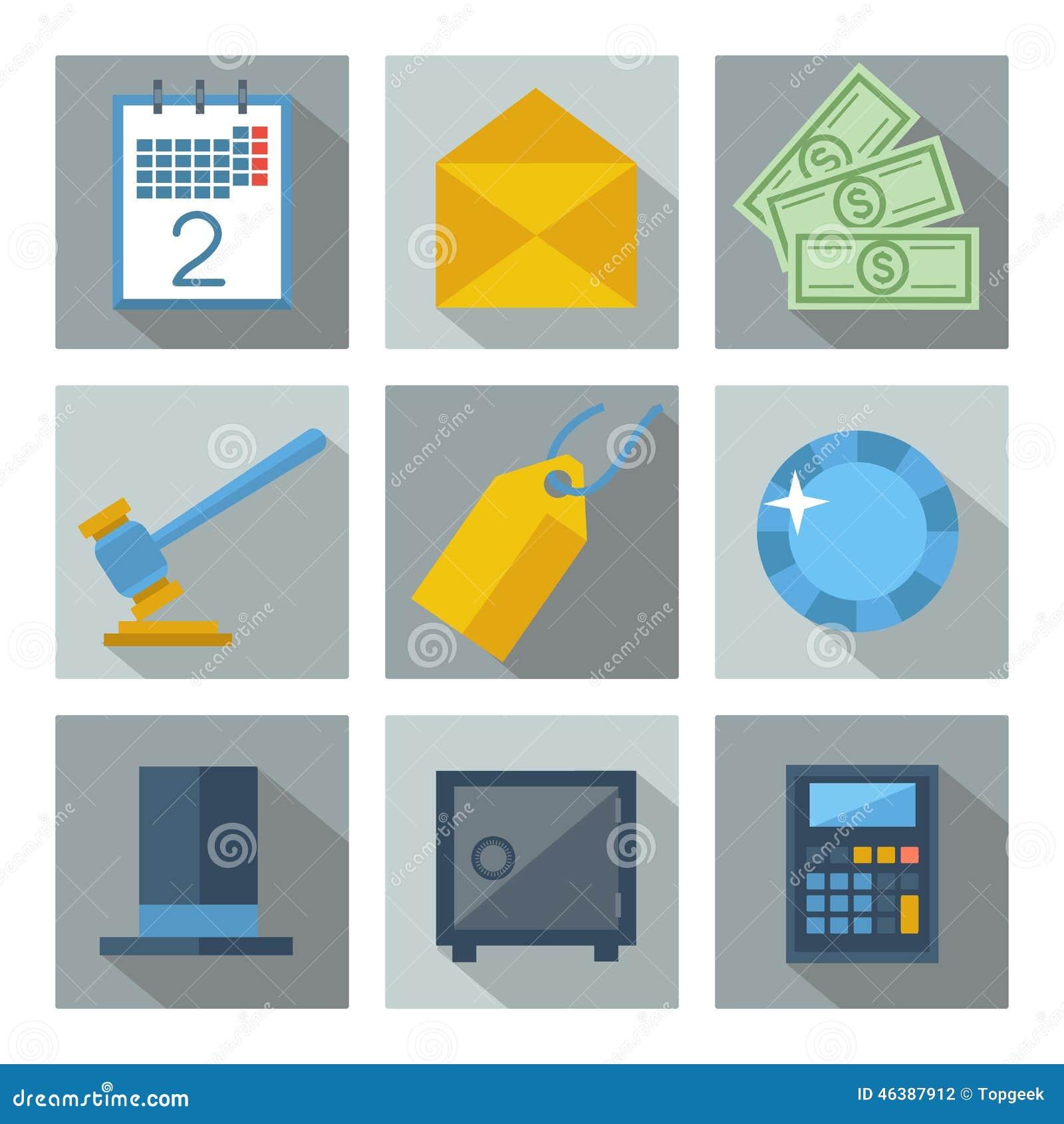 Uppsättning av 9 fyrkantsymboler för finansiell investering