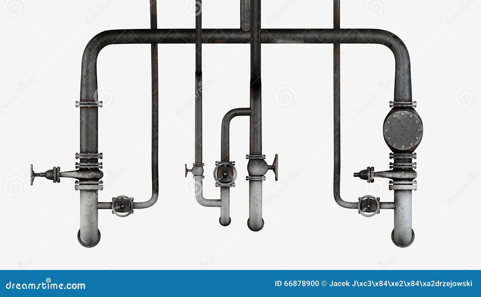 Uppsättning av gamla rostiga rör och ventiler som isoleras på vit bakgrund