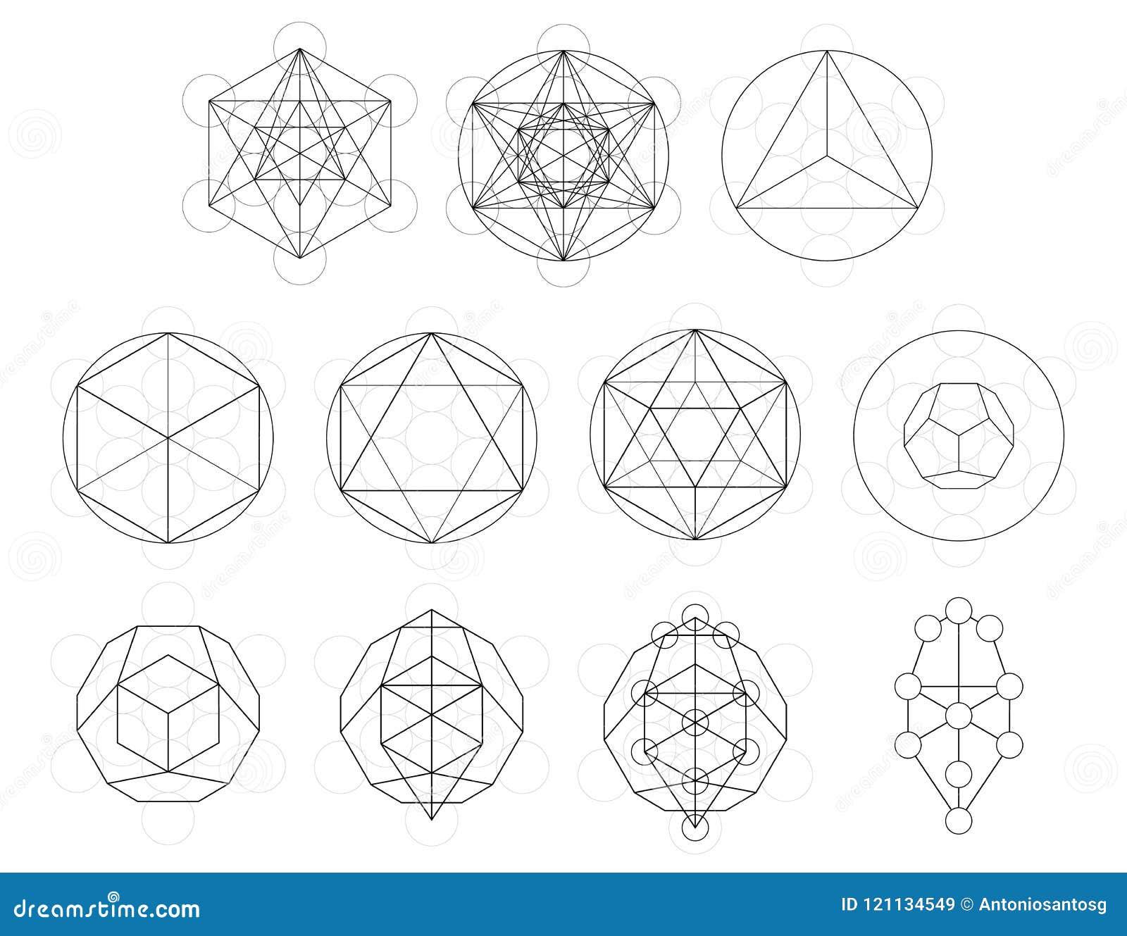 Uppsättning av geometriska beståndsdelar och former Sakral utveckling för geometriMetatron kub