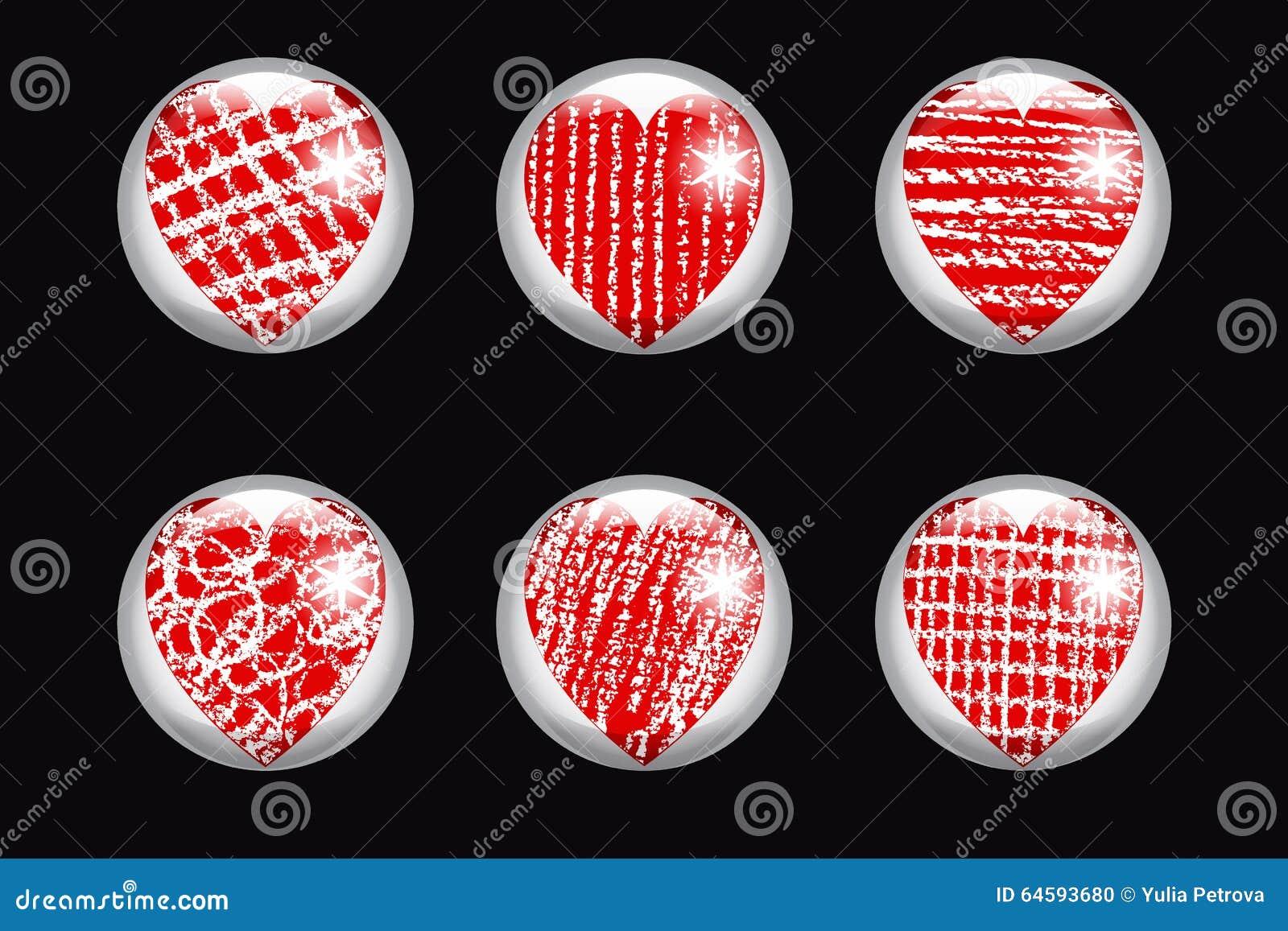 Uppsättning av glansiga knappar med hjärta