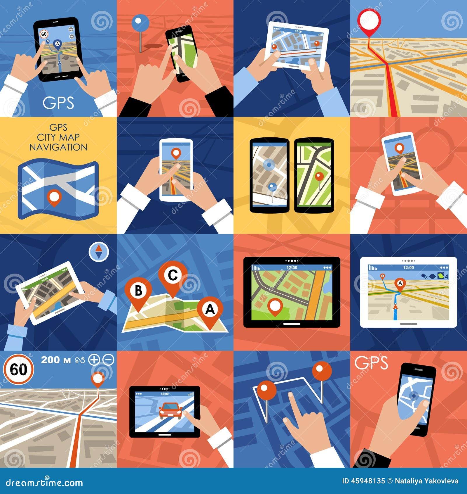 Uppsättning av GPS för 16 symboler navigering