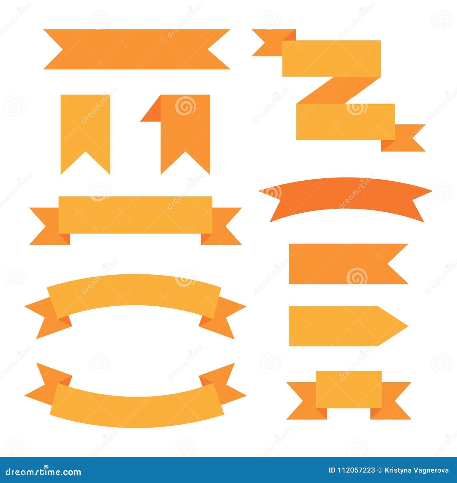 Uppsättning av grafiska dekorativa band för orange rengöringsduk