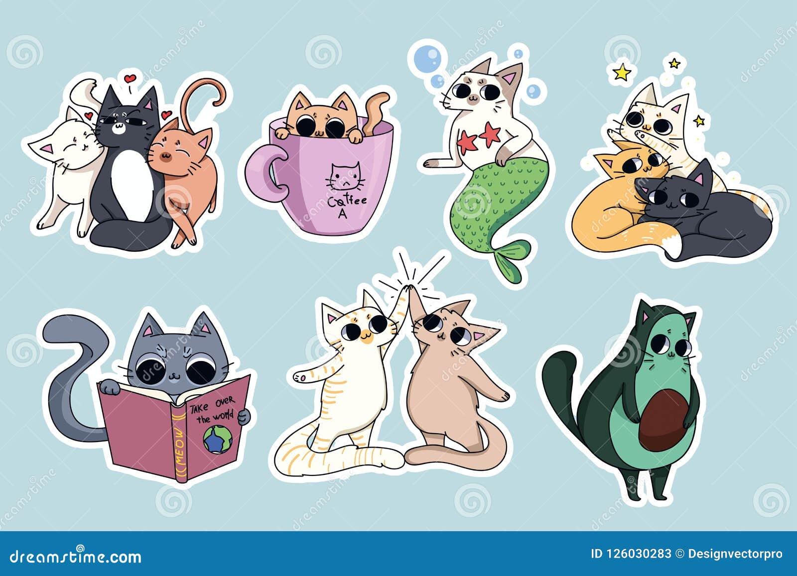 Uppsättning av gulliga kattklistermärkear Avokadokatt, kaffe-katt Cat Reading