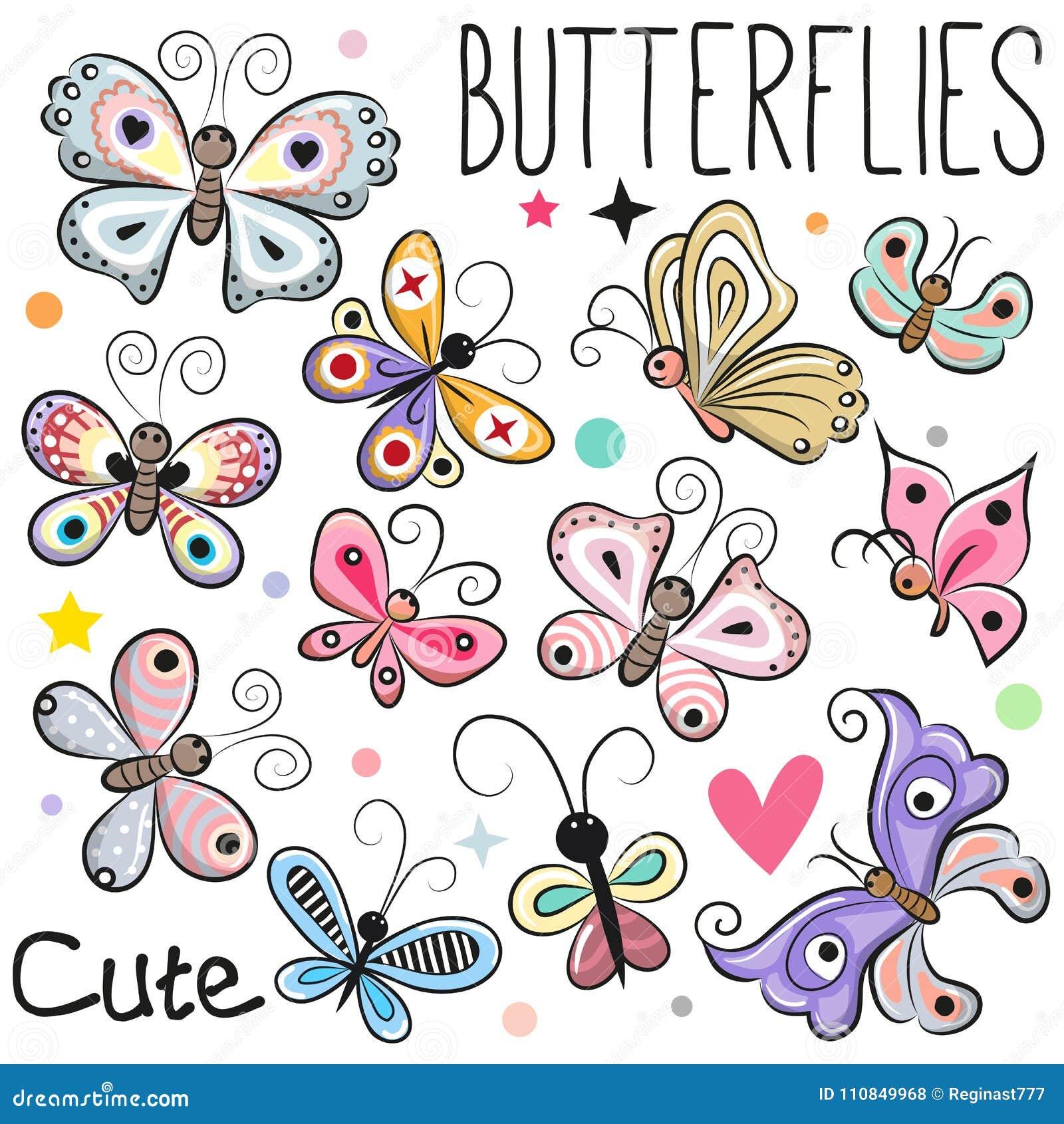 Uppsättning av gulliga tecknad filmfjärilar