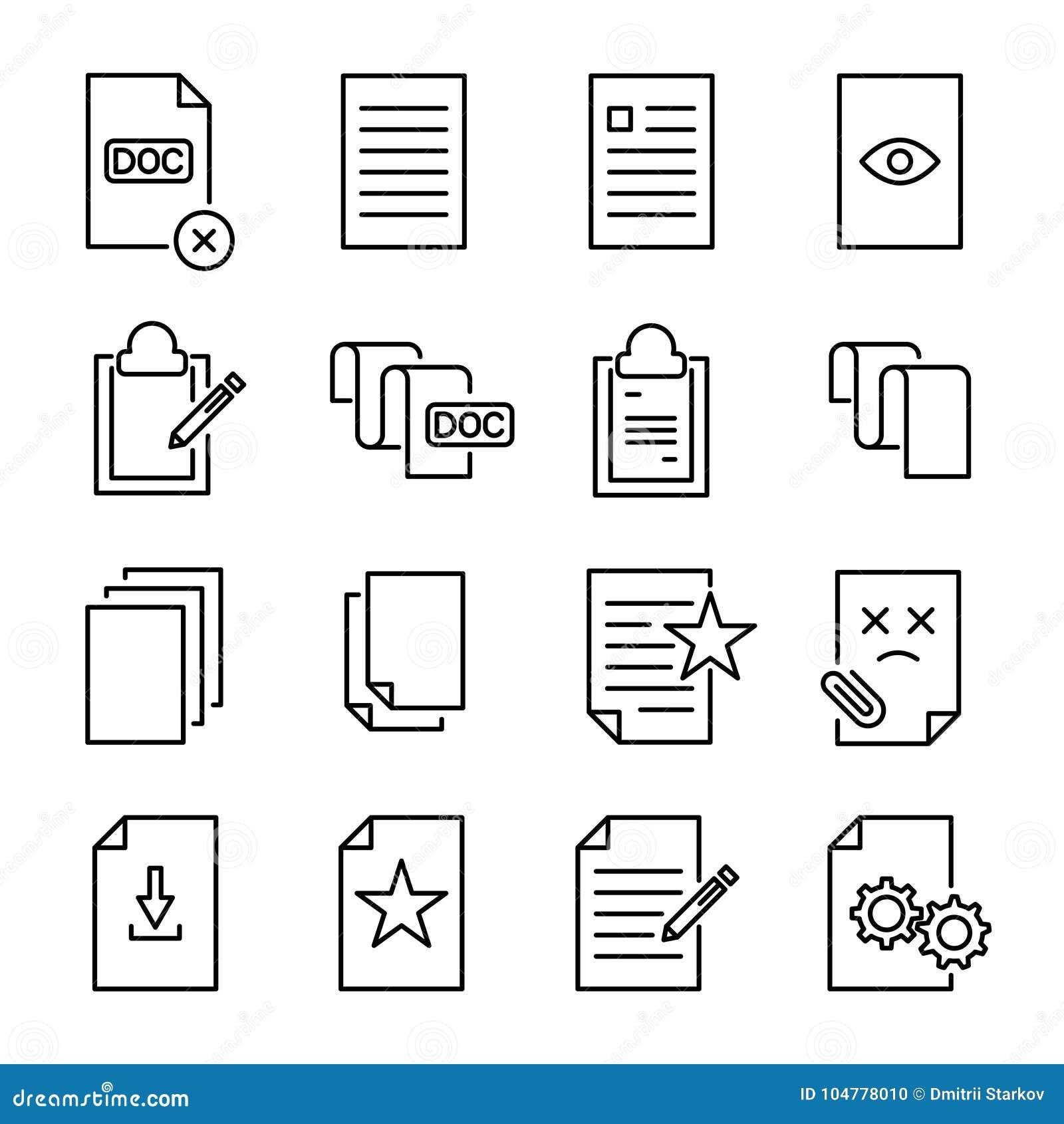 Uppsättning av högvärdiga dokumentsymboler i linjen stil