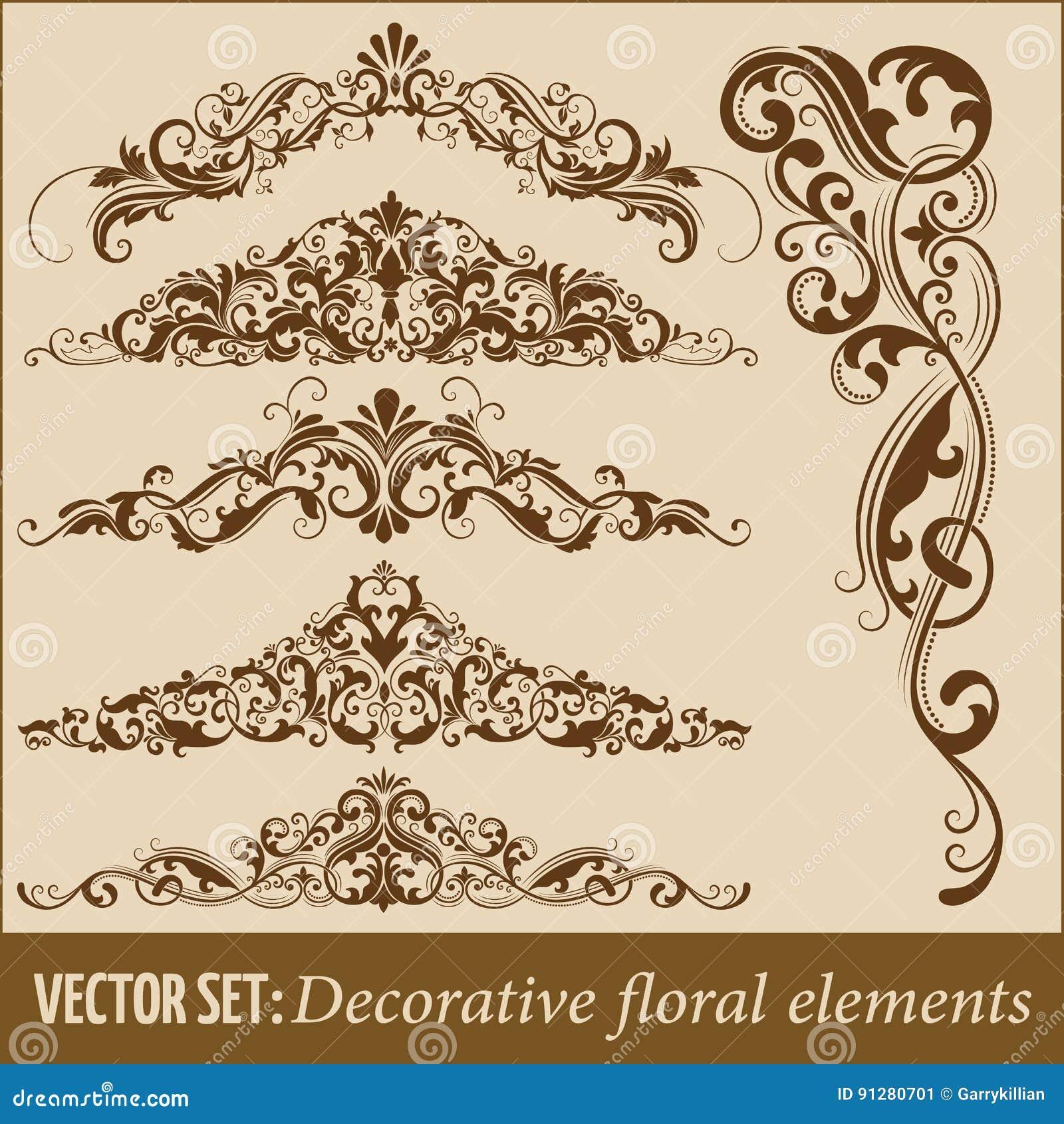 Uppsättning av hand drog blom- beståndsdelar för dekorativ vektor för design Sidagarneringbeståndsdel