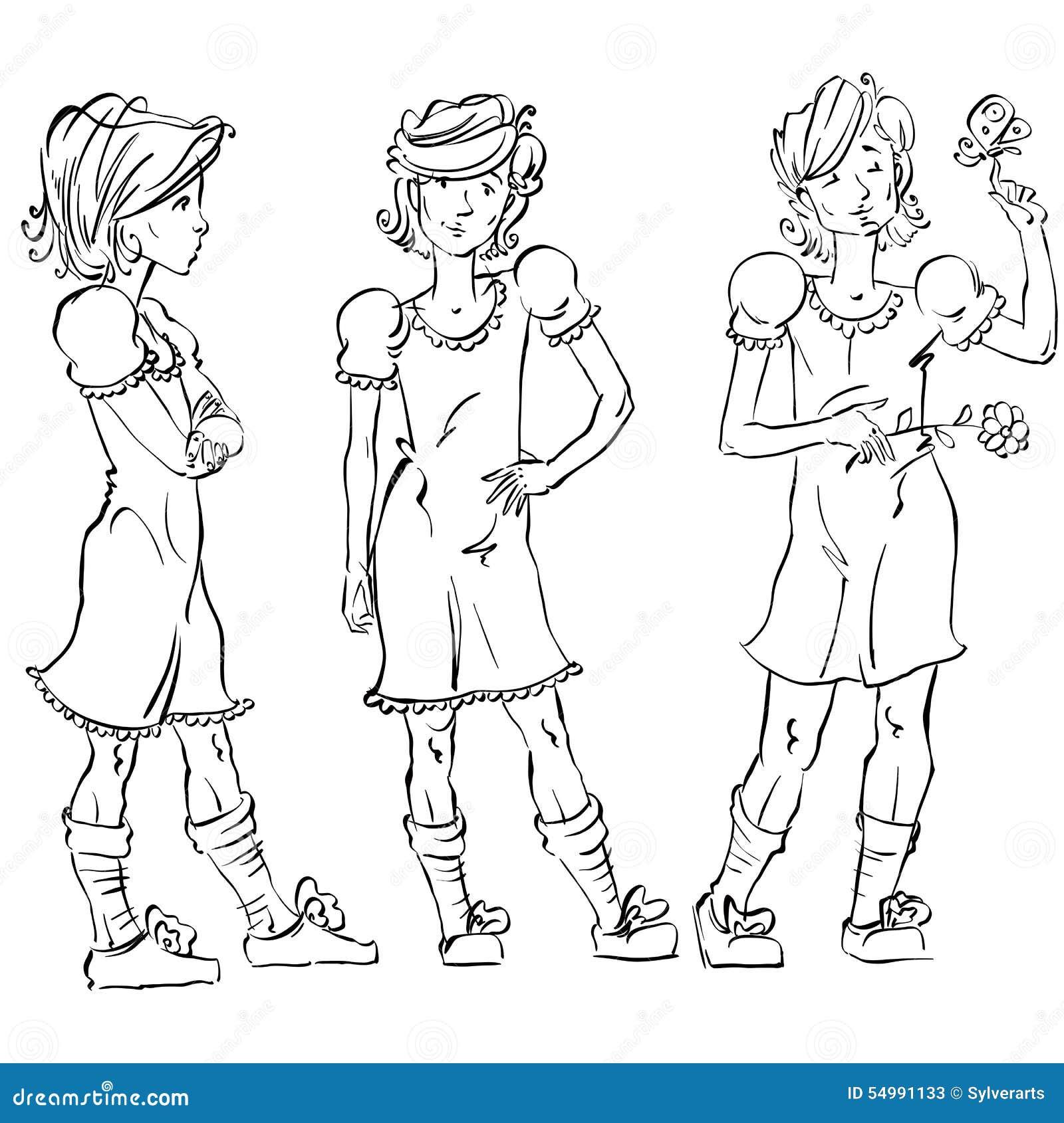 Uppsättning av hellång hand-dragen Caucasian tonår för vektor, svart och
