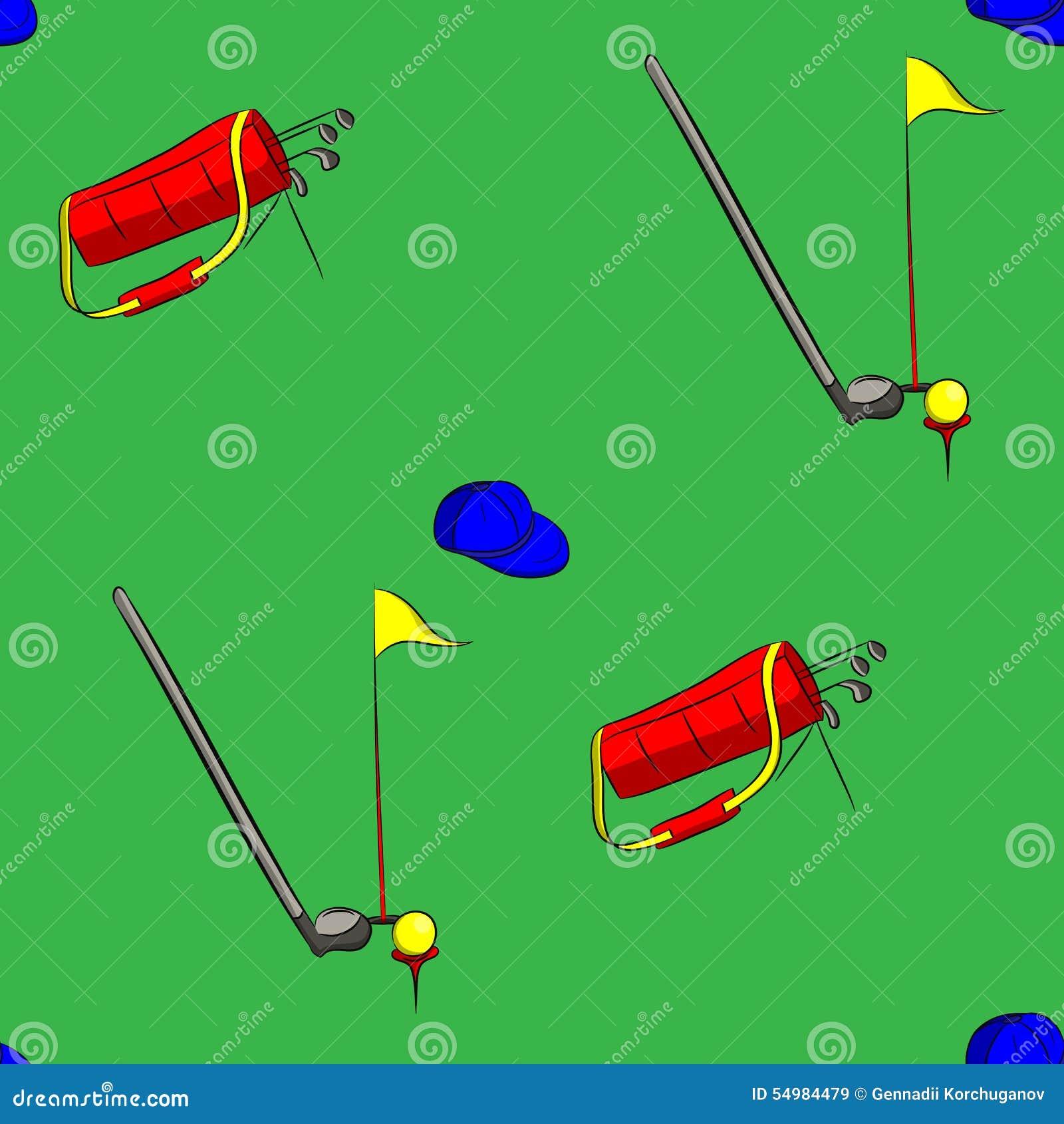 Uppsättning av illustrationen för vektor för golfutrustning på grön bakgrund