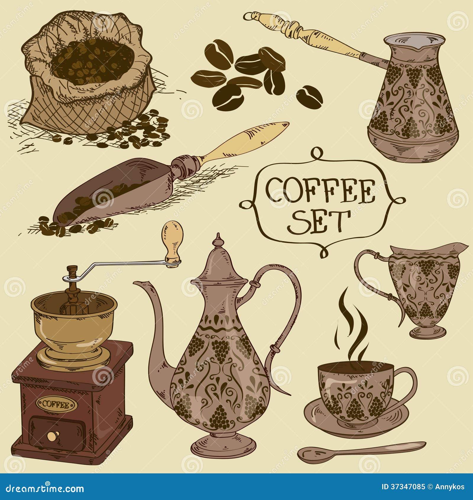 Uppsättning av isolerade kaffesymboler