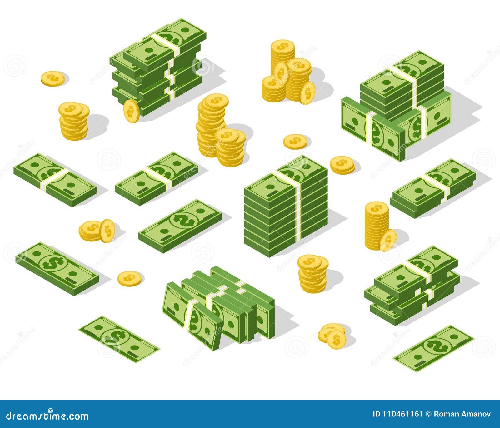 Uppsättning av isometriska pengar som isoleras på vit bakgrund