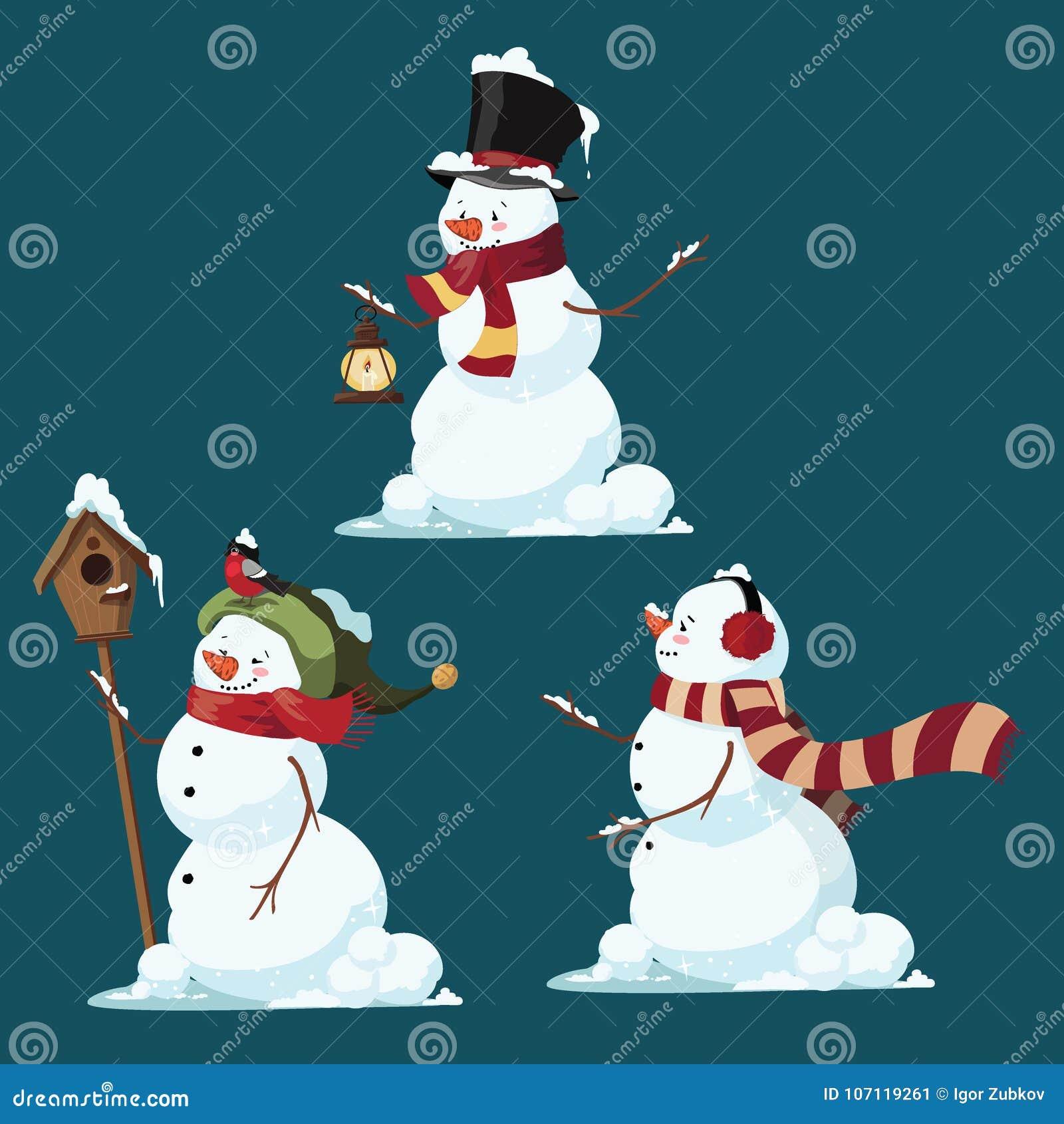 Uppsättning av julsnögubbear Samling av den roliga tecknade filmen