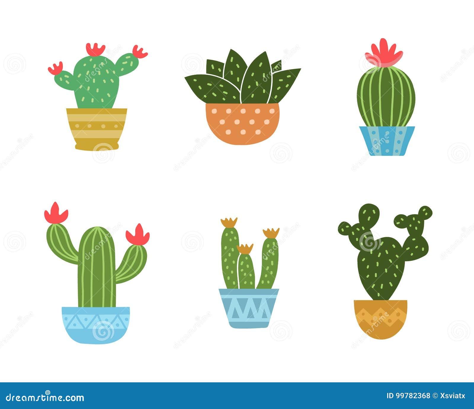 Uppsättning av kaktussymbolssamlingen vektor