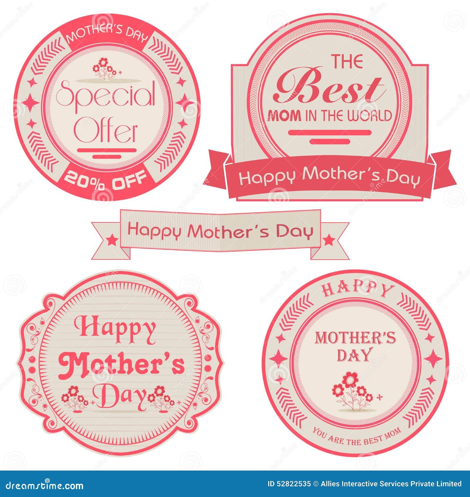Uppsättning av klistermärkear eller etiketter för lycklig mors dag