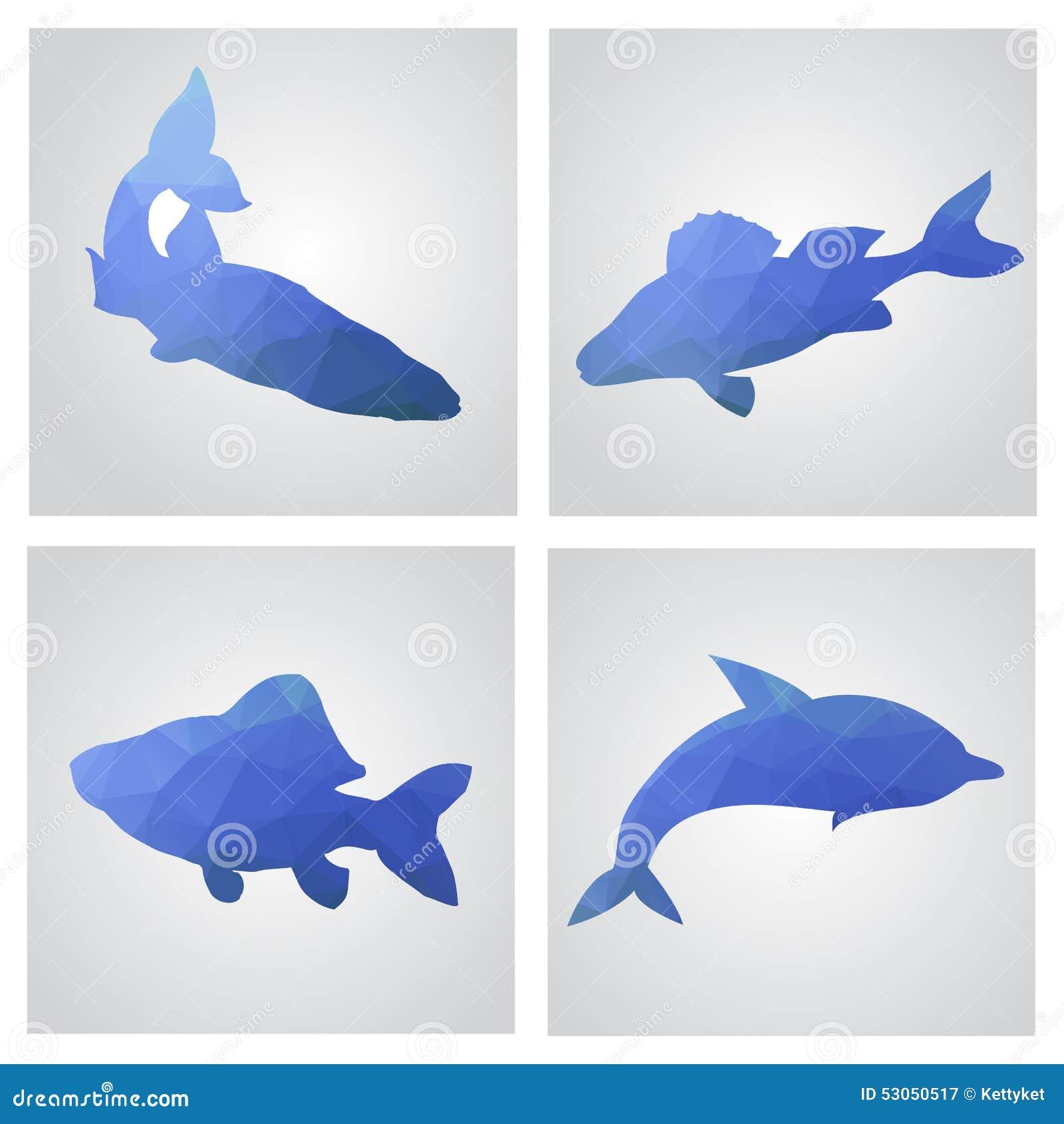 Uppsättning av kort i polygonal stil Fiskar fiske, delfin Vecto