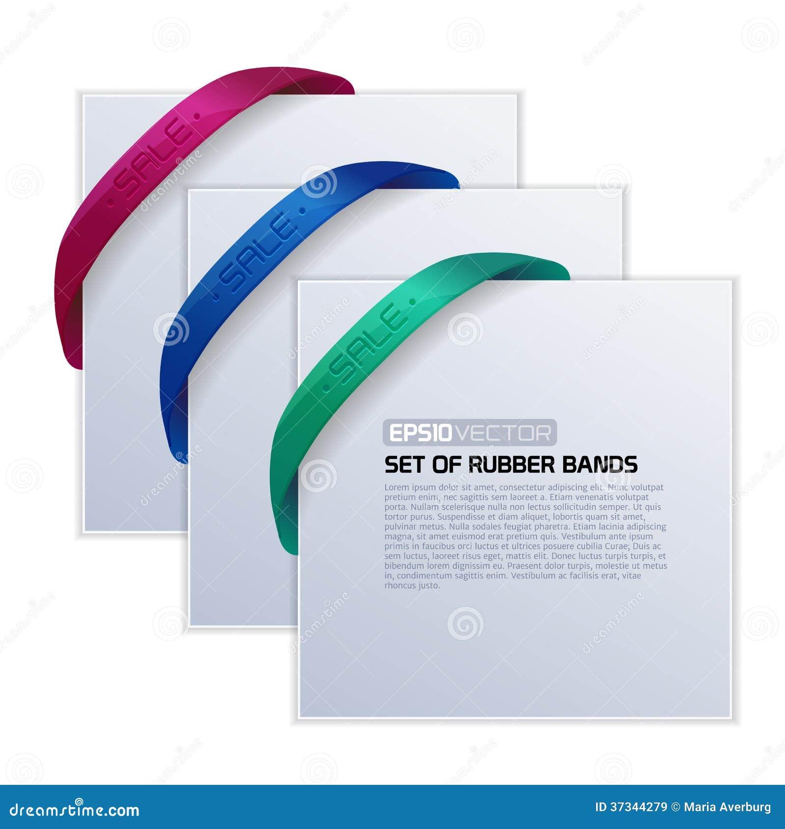 Uppsättning av kort med gummiband.