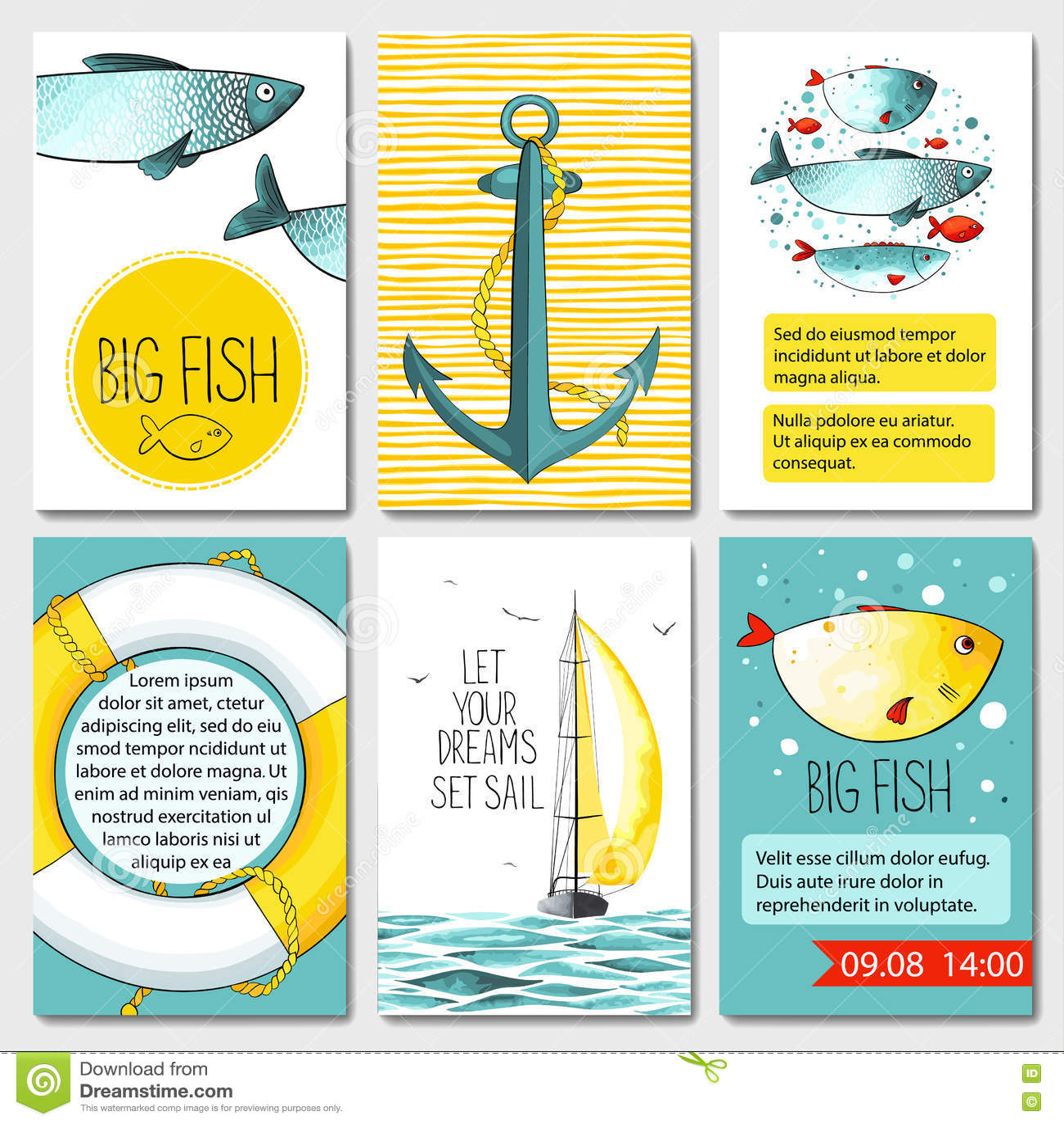 Uppsättning av 6 kortmallar med havsbakgrund