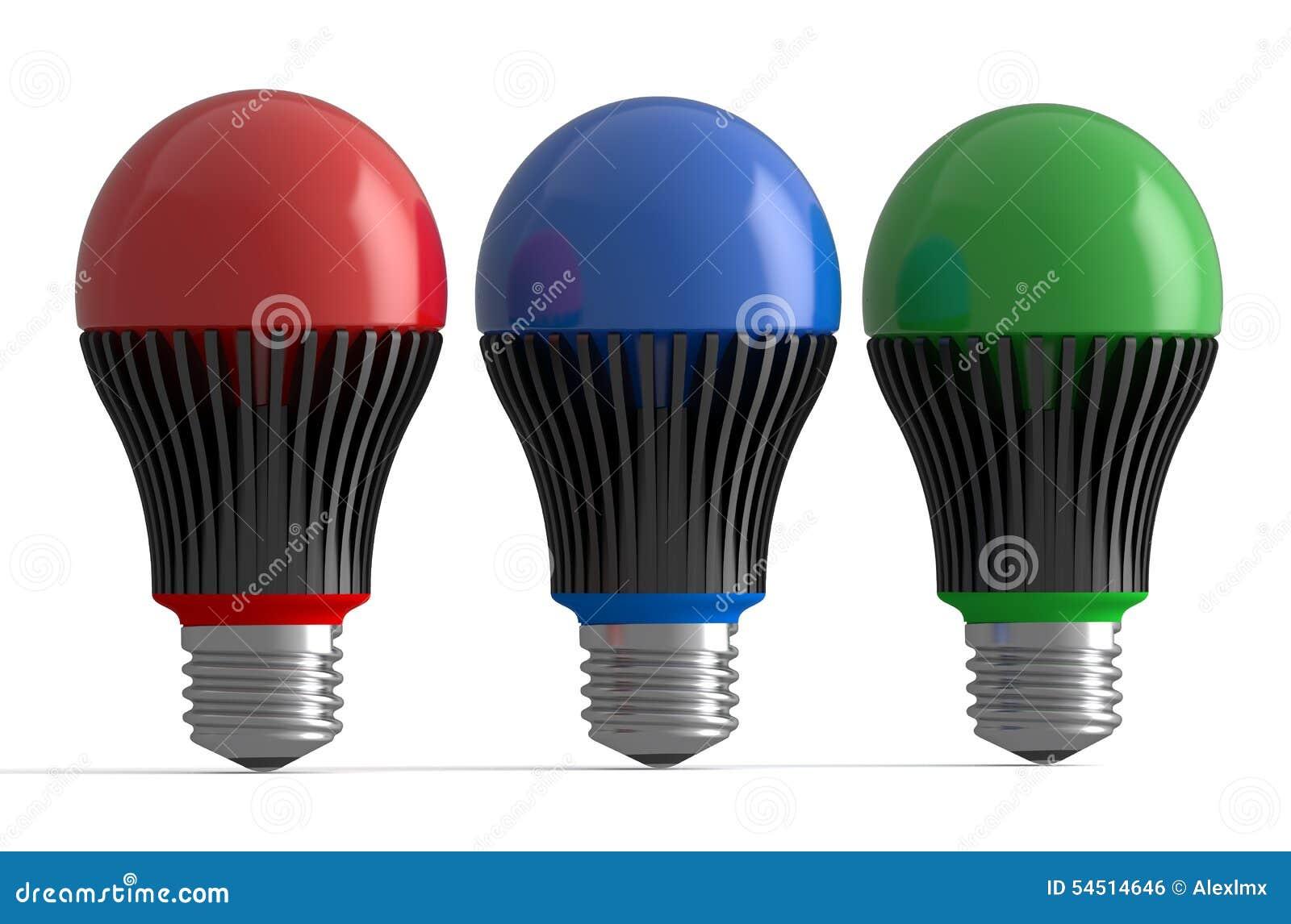 Uppsättning av kulöra LEDDE lampor