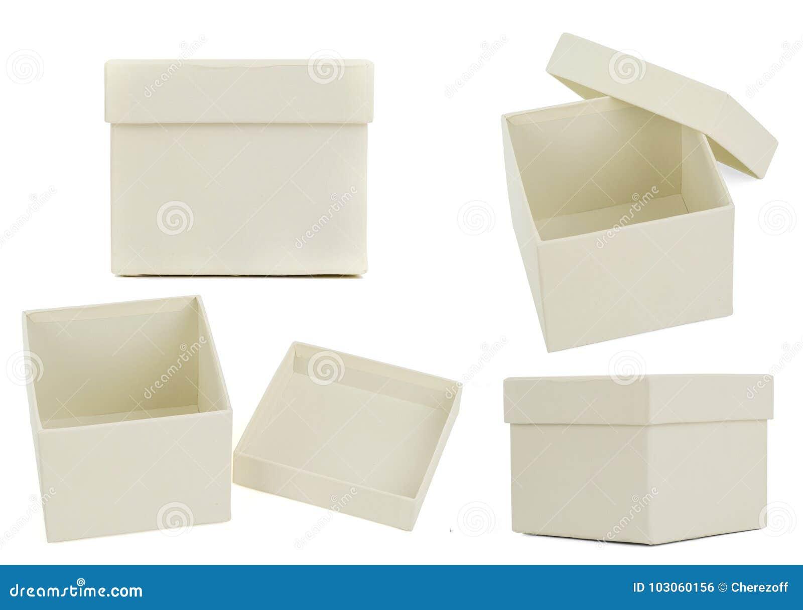 Uppsättning av lägenhetaskar för vit fyrkant