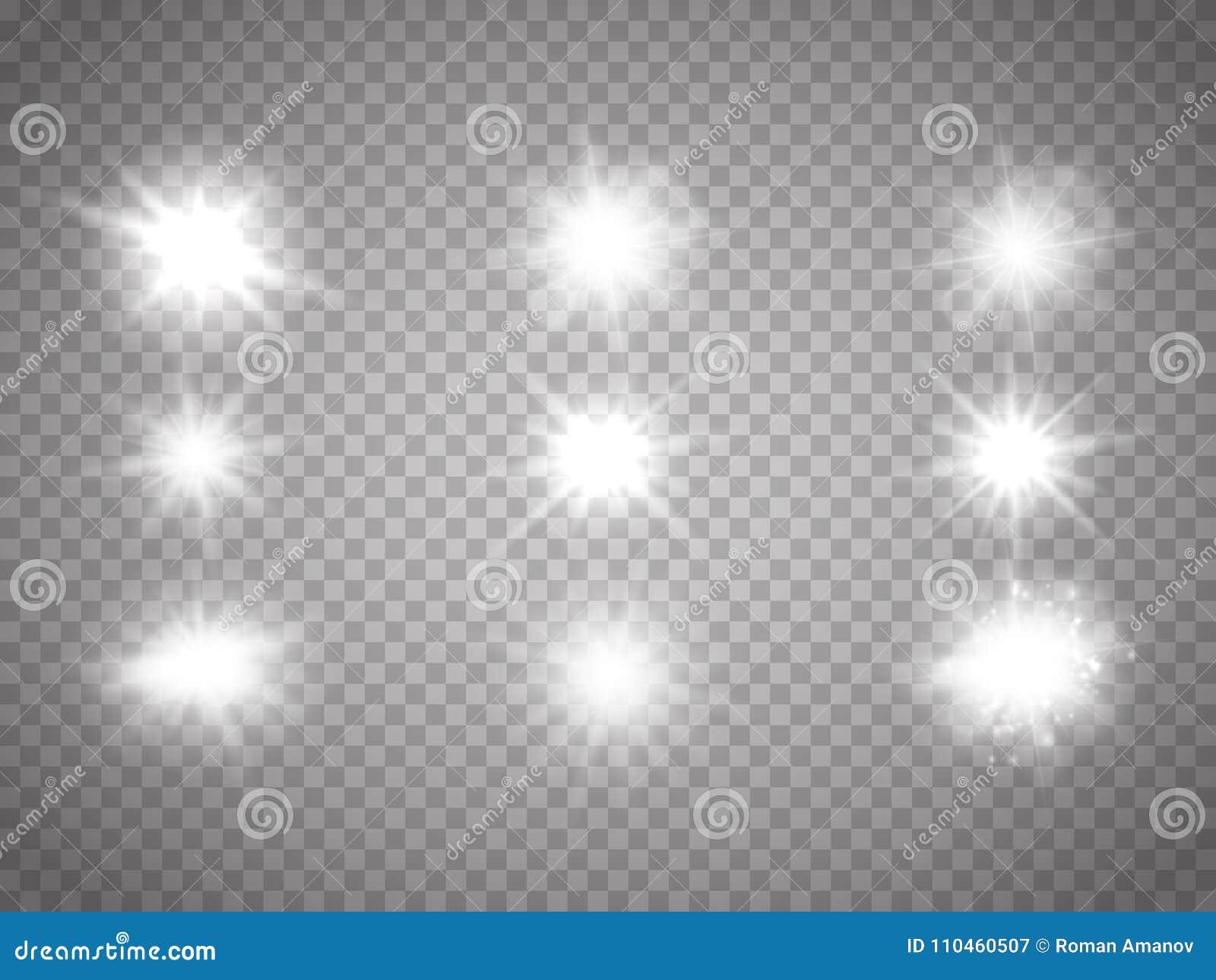 Uppsättning av ljus Att glöda mousserar isolerat Vektoreffekt
