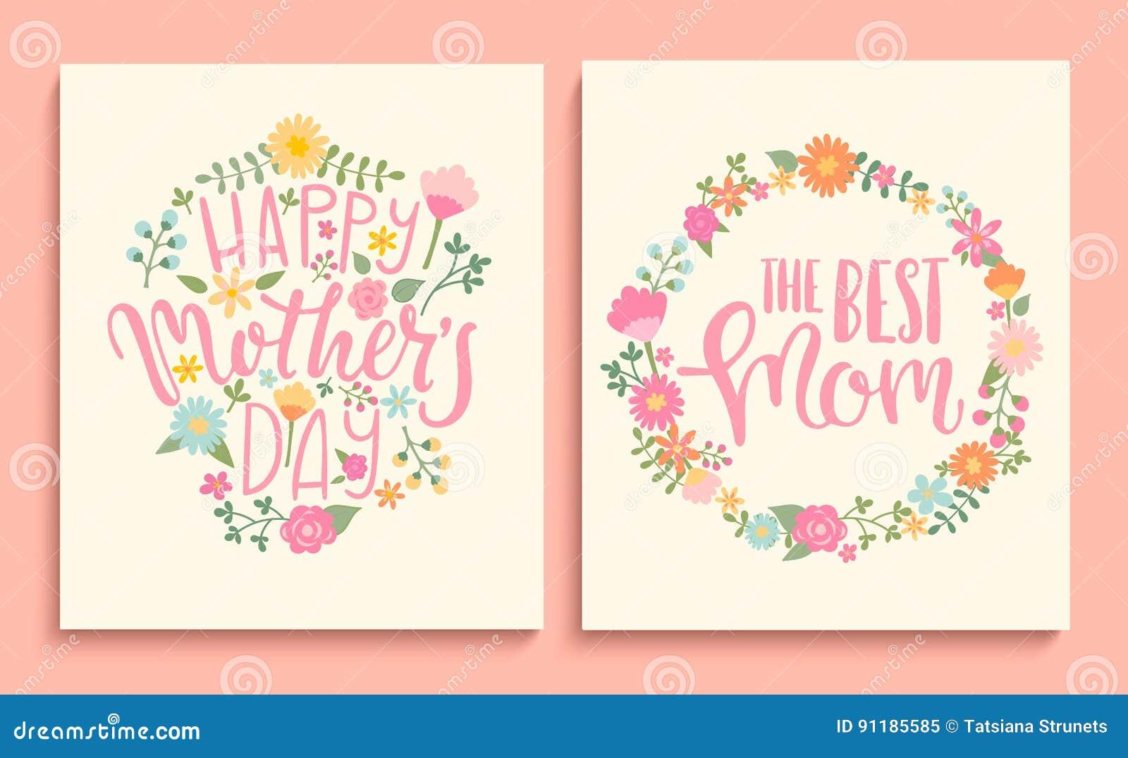 Uppsättning av lyckliga kort för dag för moder` s