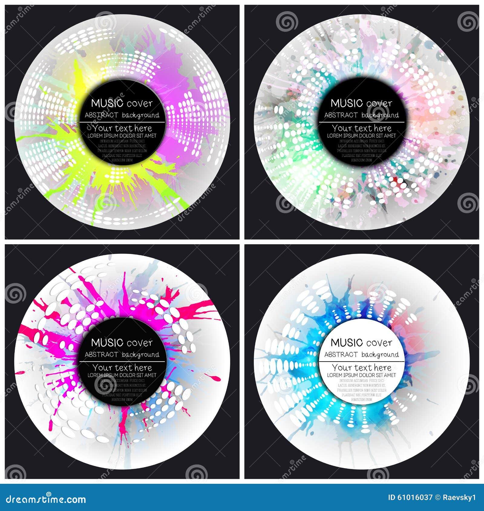 Uppsättning av 4 mallar för musikalbumräkning Abstrakt begrepp