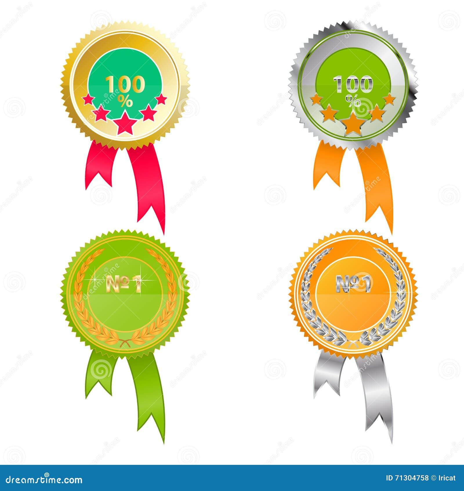 Uppsättning av medaljer av kvalitet Ljust - gräsplan- och apelsinfärger med guld och silver