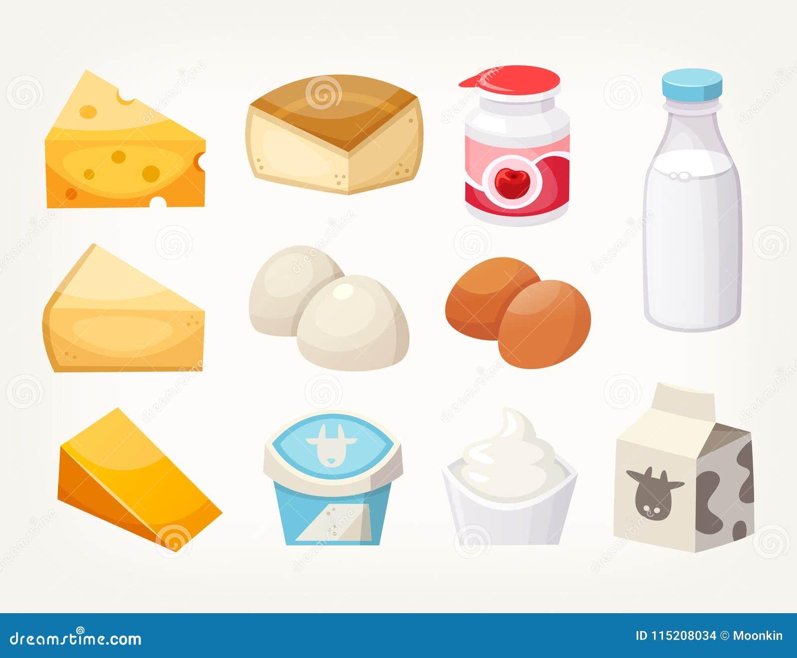 Uppsättning av mest gemensamma mejerilivsmedelsprodukter Några sorter av ost, mjölkar packar och yoghurter