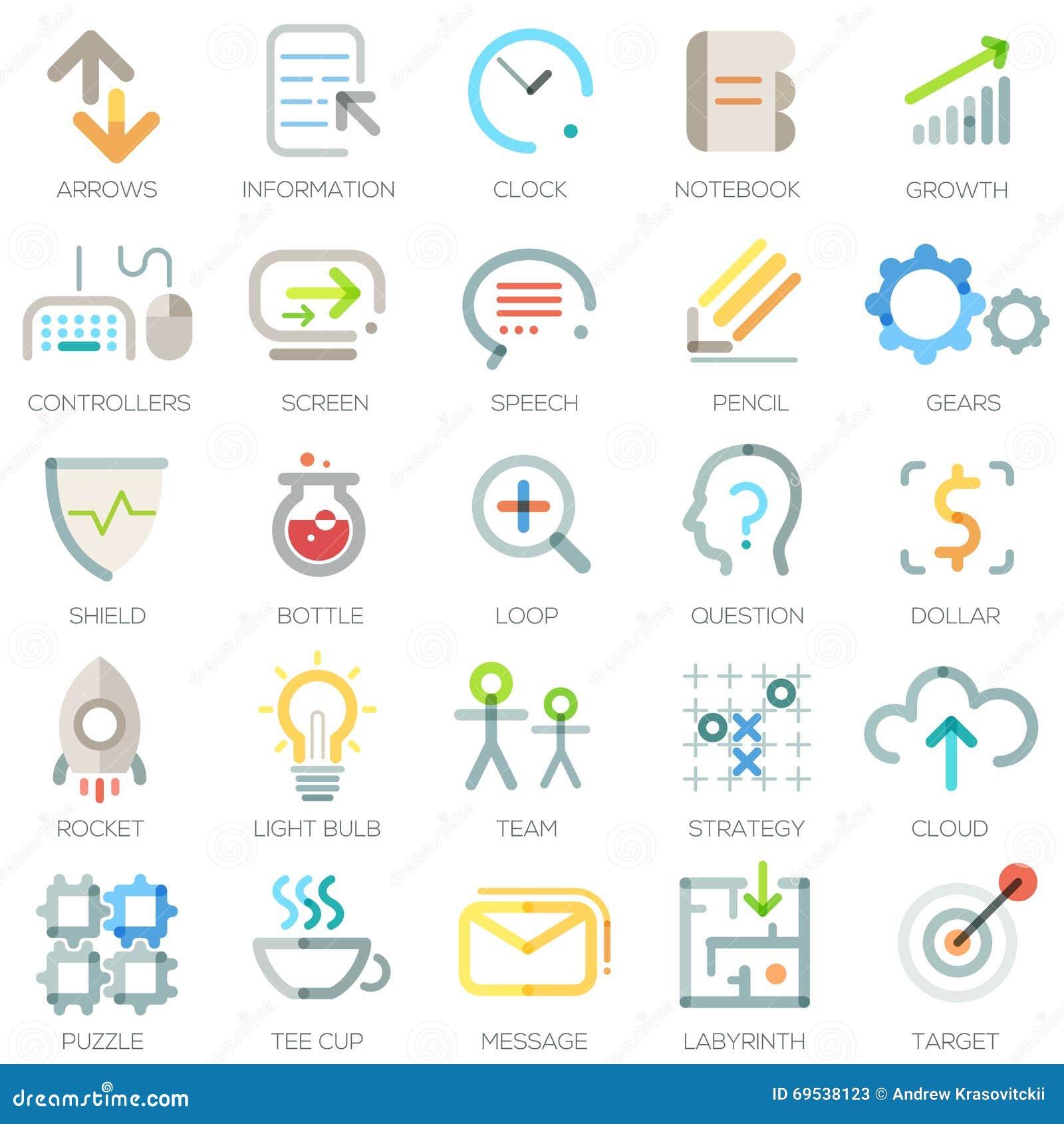 Uppsättning av 25 moderna affärssymboler vektor