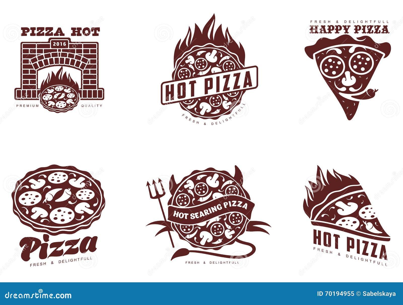 Uppsättning av monokromma pizzalogoer