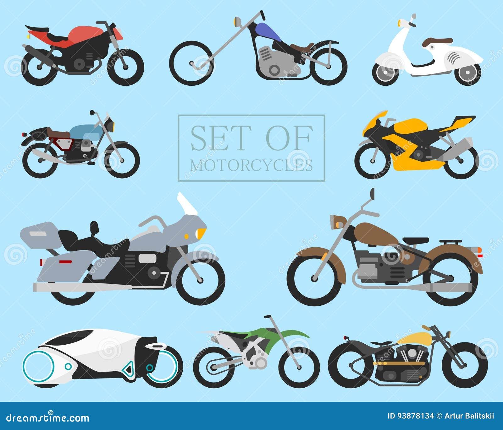 Uppsättning av motorcykelsymboler retro och moderna plana cyklar springa och gatamopeder Sparkcykel på vit