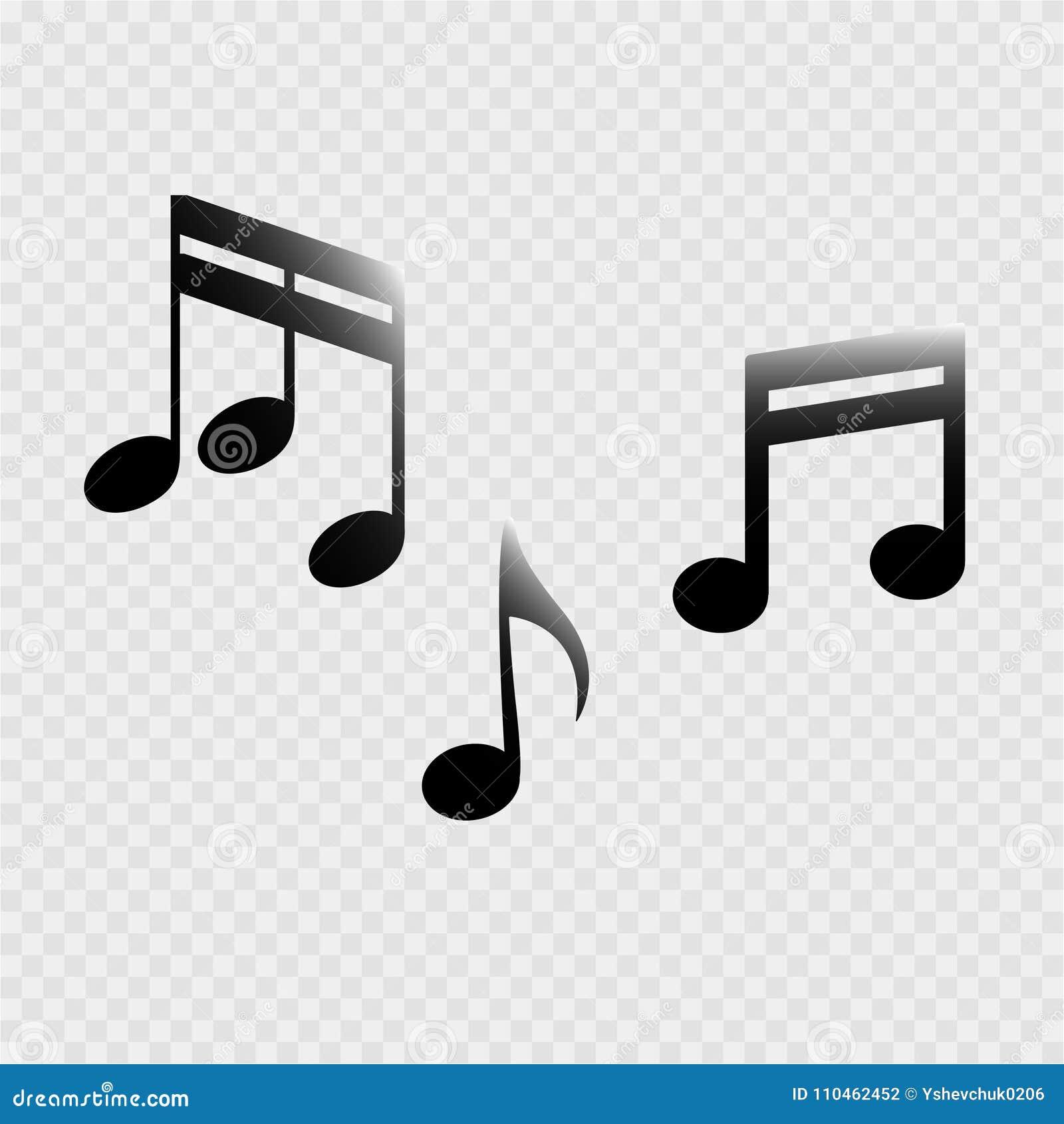 Uppsättning av musikanmärkningar på en grå bakgrund