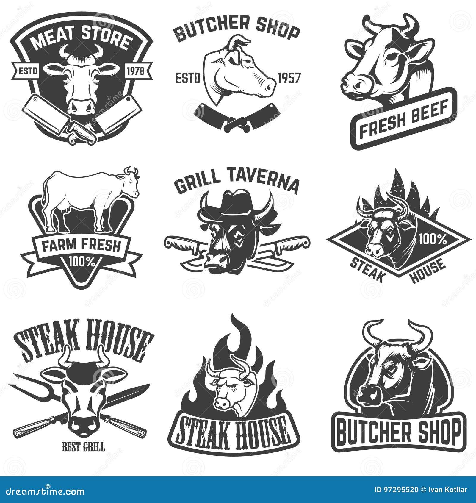 Uppsättning av nötköttkött, stekhusemblem Designbeståndsdelar för logo,