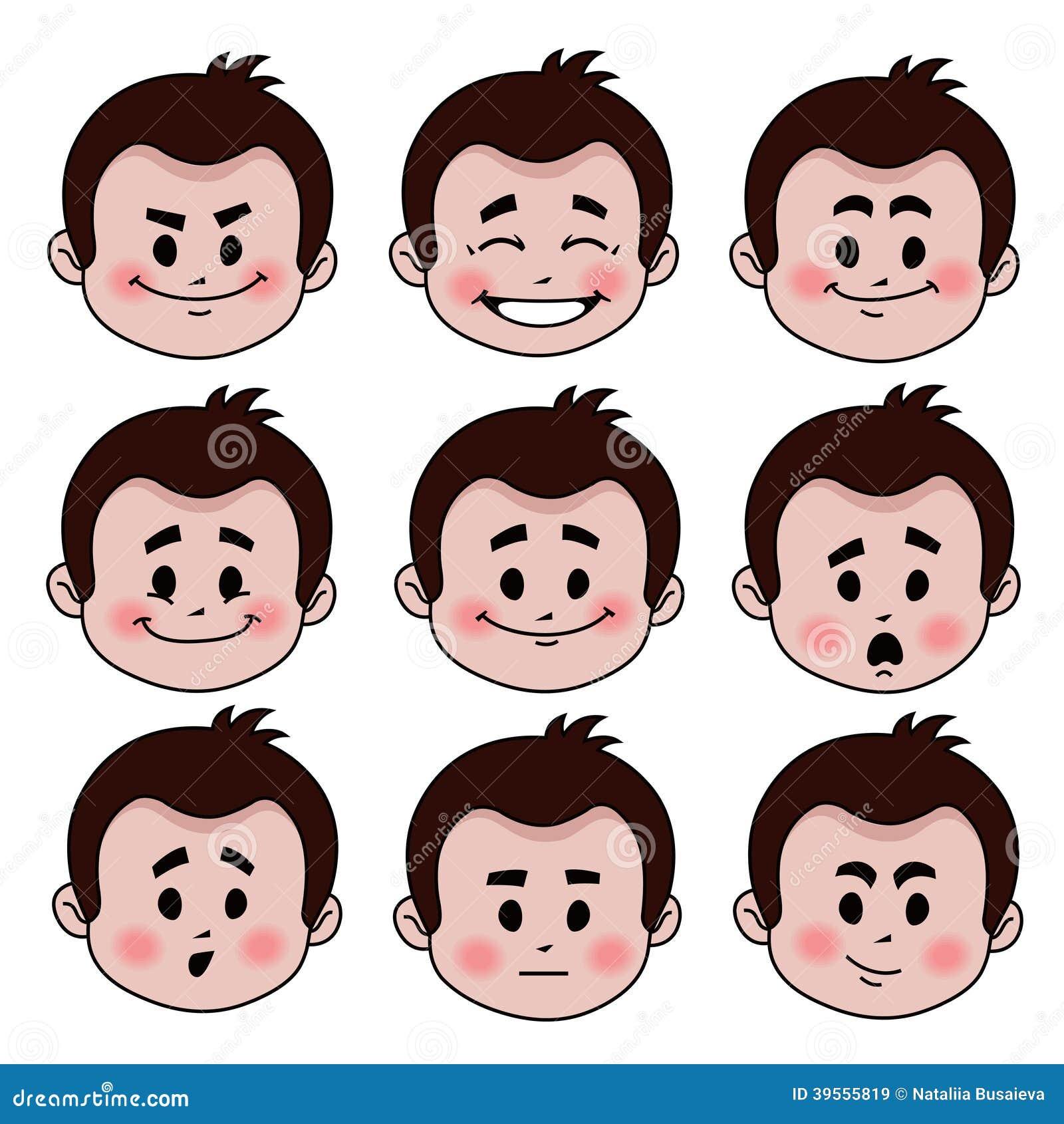 Uppsättning av nio ansiktsuttryck