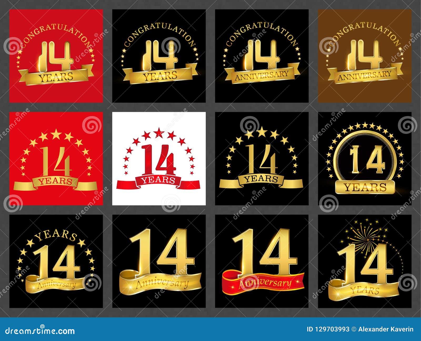 Uppsättning av nummer fjorton 14 år berömdesign För nummermall för årsdag guld- beståndsdelar för ditt födelsedagparti