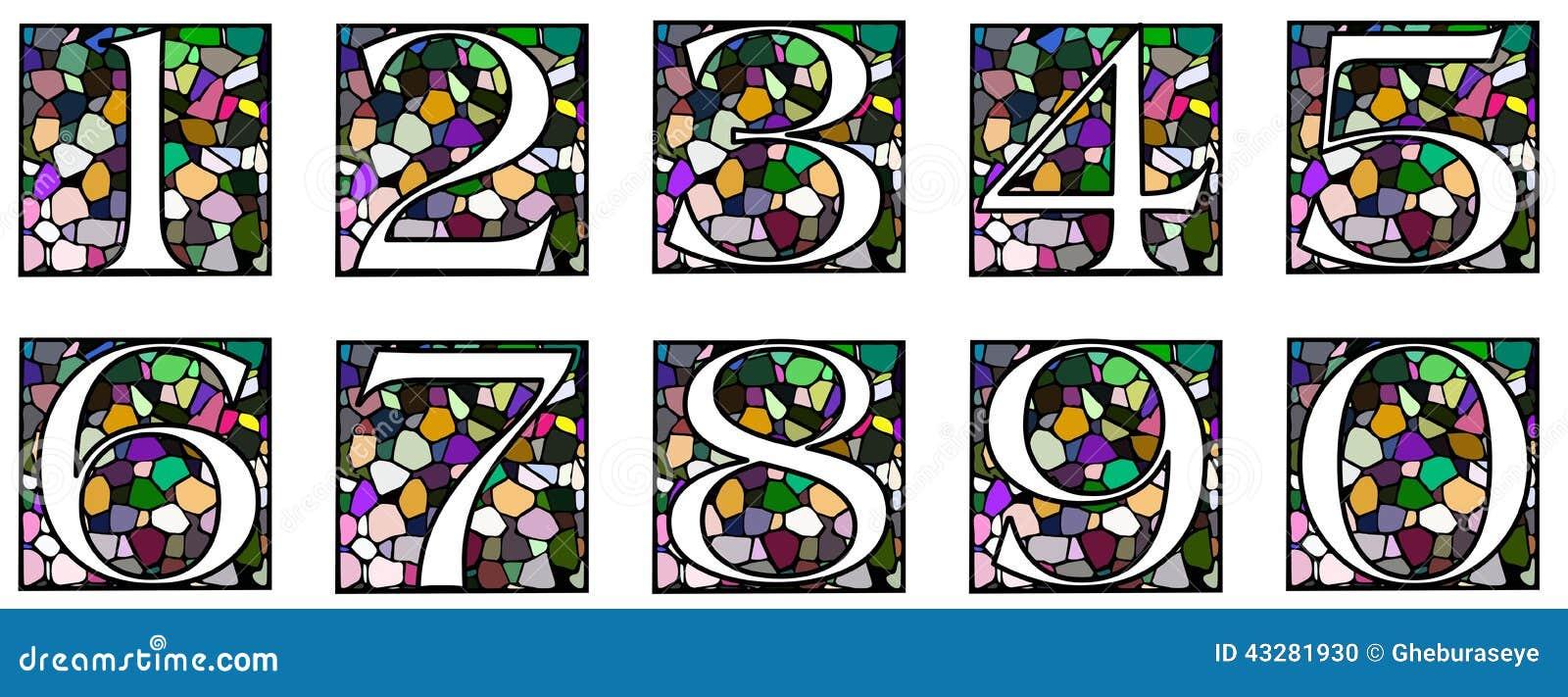 Uppsättning av nummer på mosaik