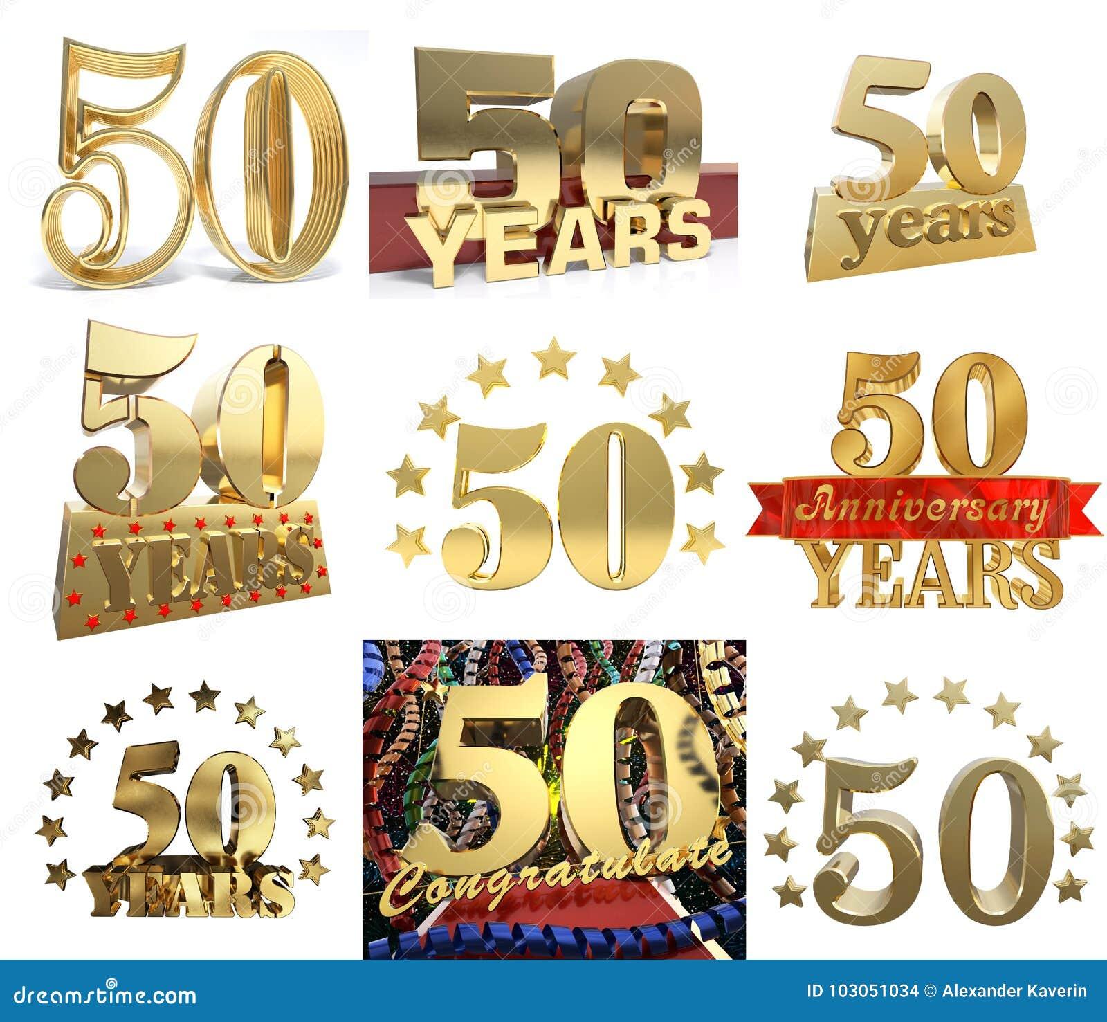 Uppsättning av numret femtio år 50 år berömdesign