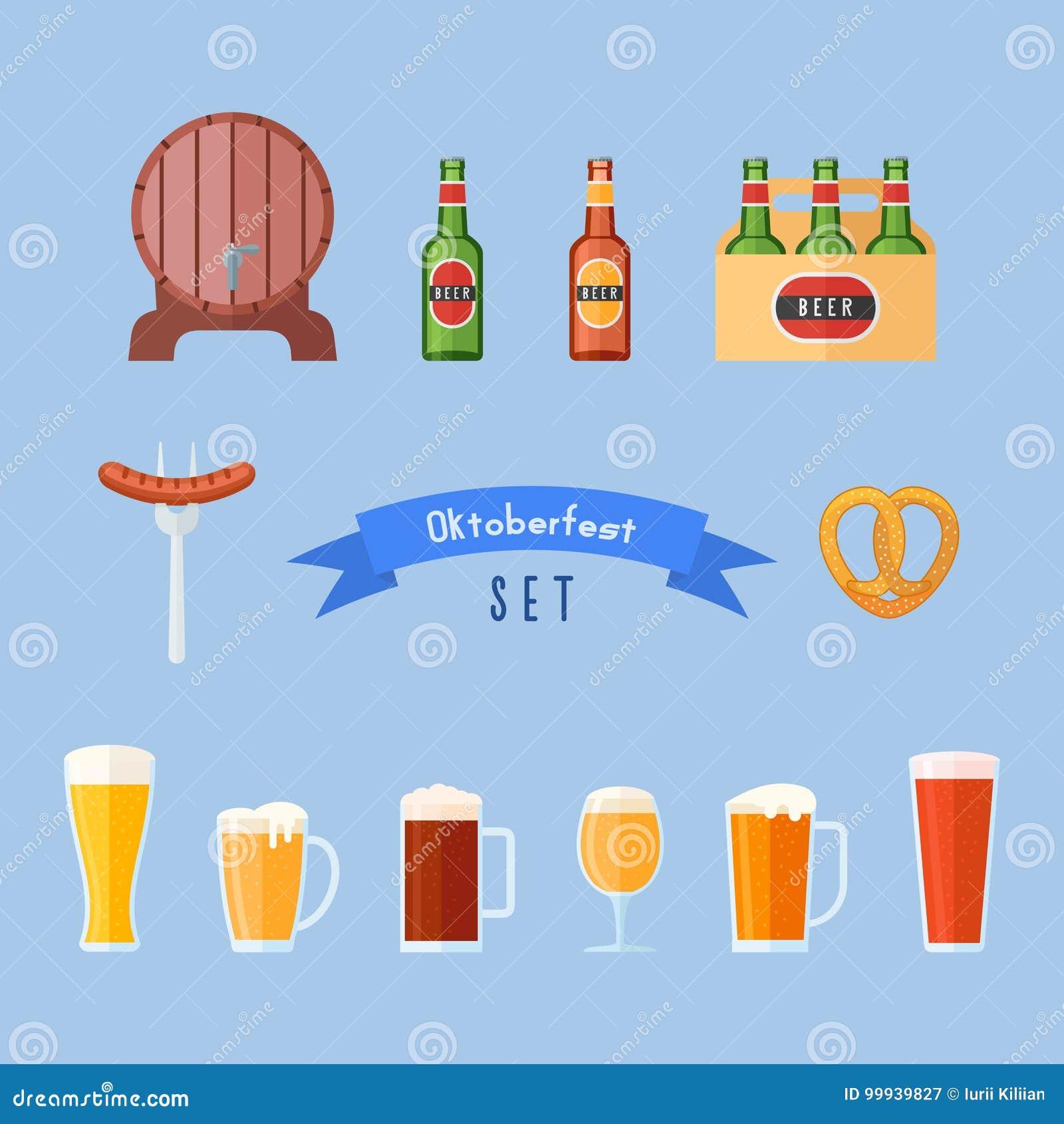 Uppsättning av Oktoberfest lägenhetsymboler Ölexponeringsglas, flaskor, trumma, korv och kringla