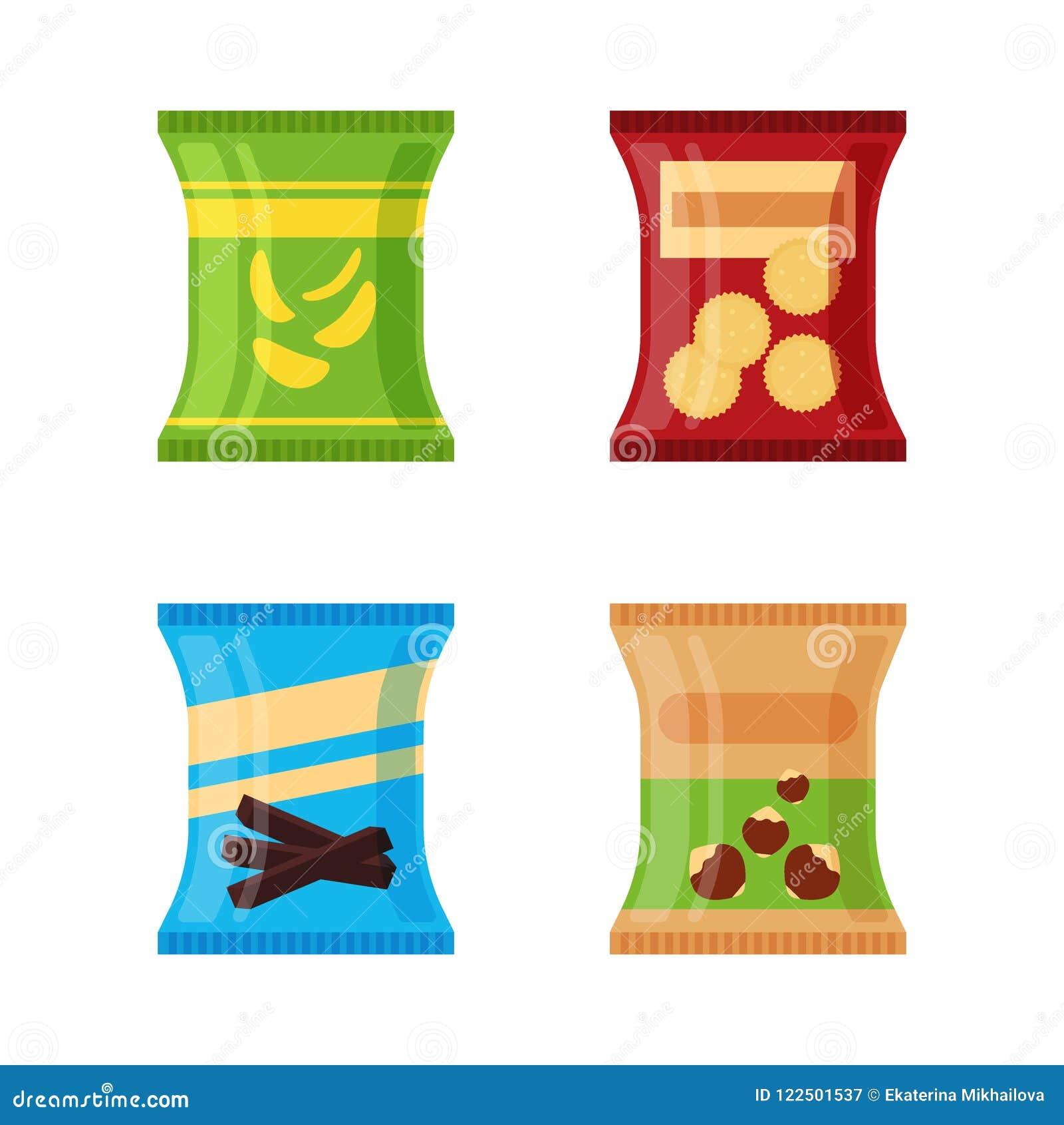 Uppsättning av olika mellanmål - salta chiper, smällaren, choklad klibbar, muttrar som isoleras på vit bakgrund Produkt för att f