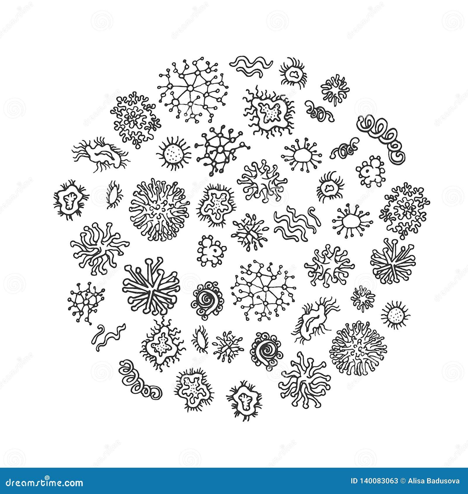 Uppsättning av olika mikroorganismer som isoleras på vit bakgrund Samling av smittsamma bakterier, protists, bakterier packe