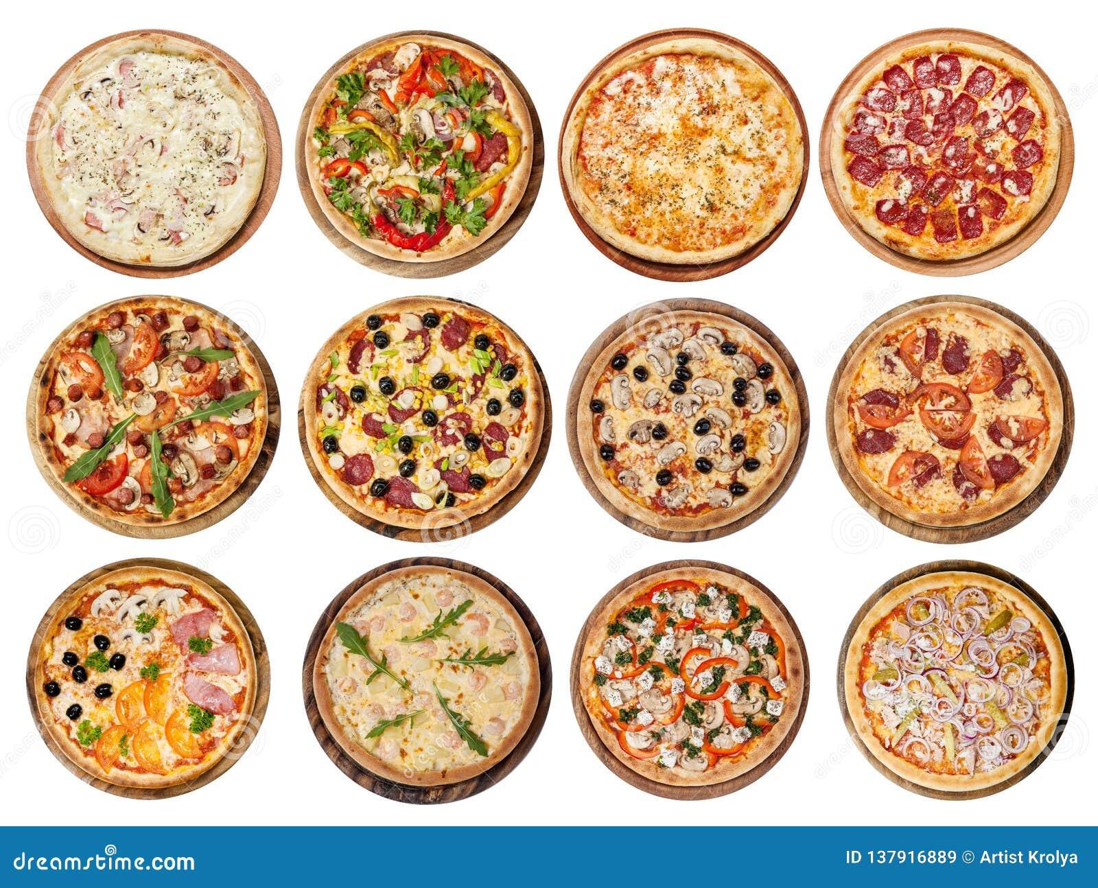 Uppsättning av olika pizza