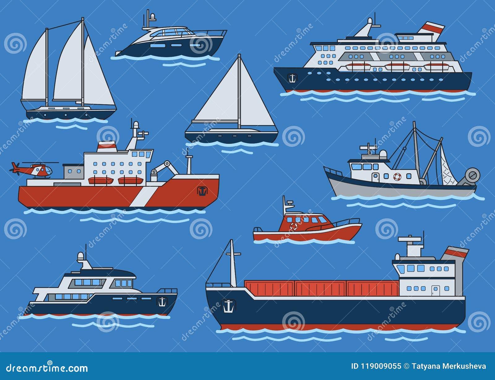 Uppsättning av olika typskepp och fartyg Fraktbåt isbrytare, kryssare, yacht, trålare, snabb motorbåt Plan vektor