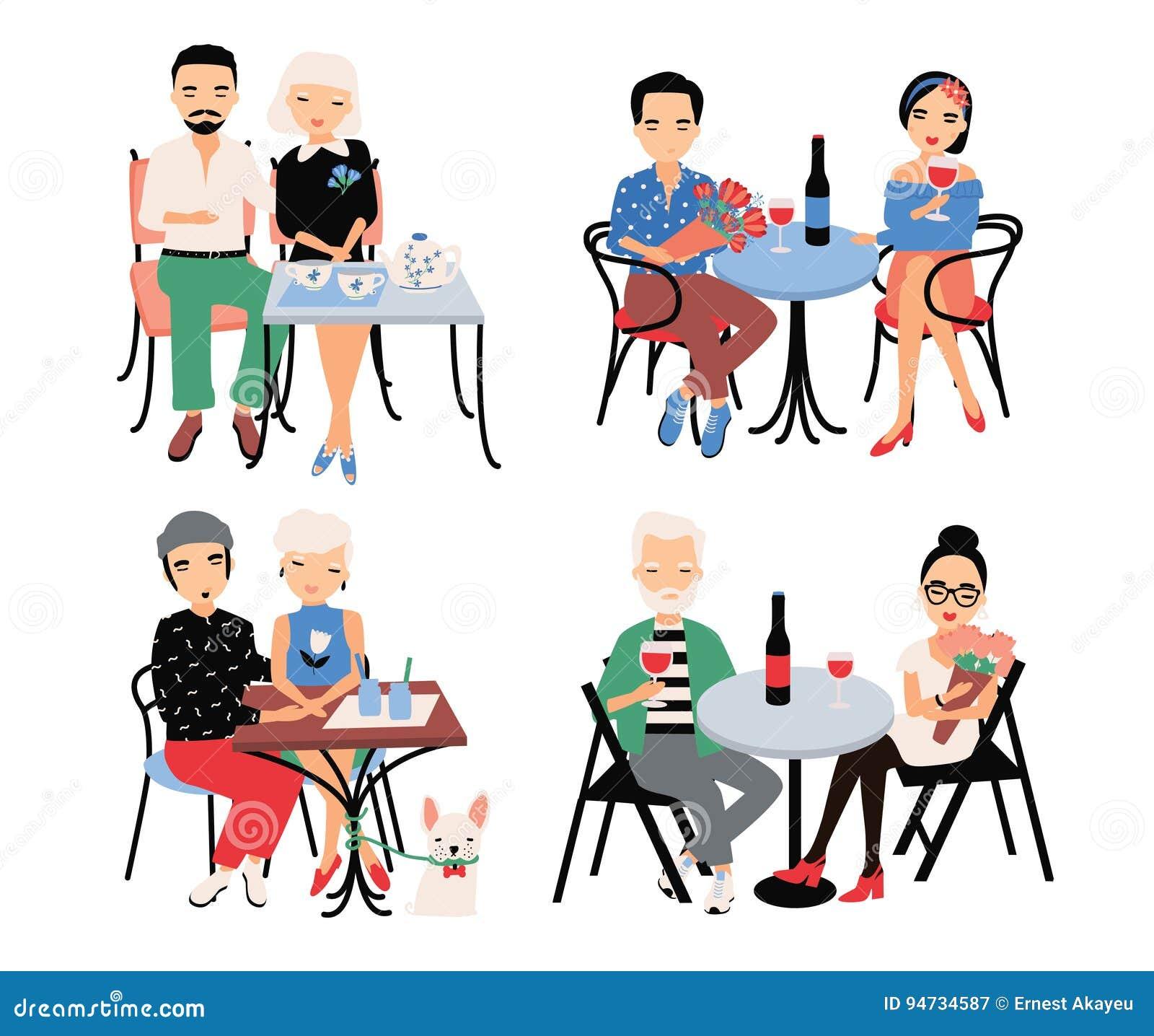 Uppsättning av par på romantiskt datum Unga moderiktiga vänner på tabellen i kafé Grabben och flickan sitter i omfamning, rymmer