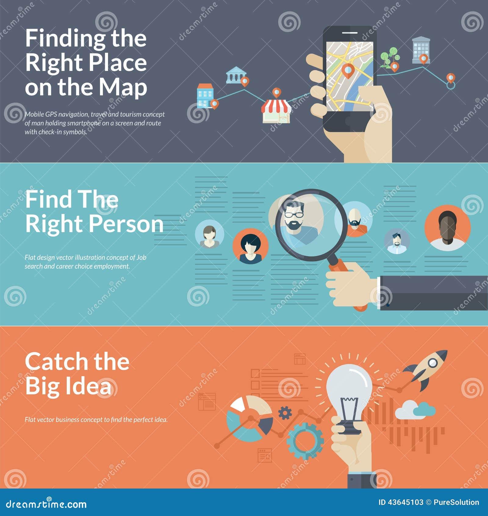 Uppsättning av plana designbegrepp för mobil den GPS navigering, karriären och affären