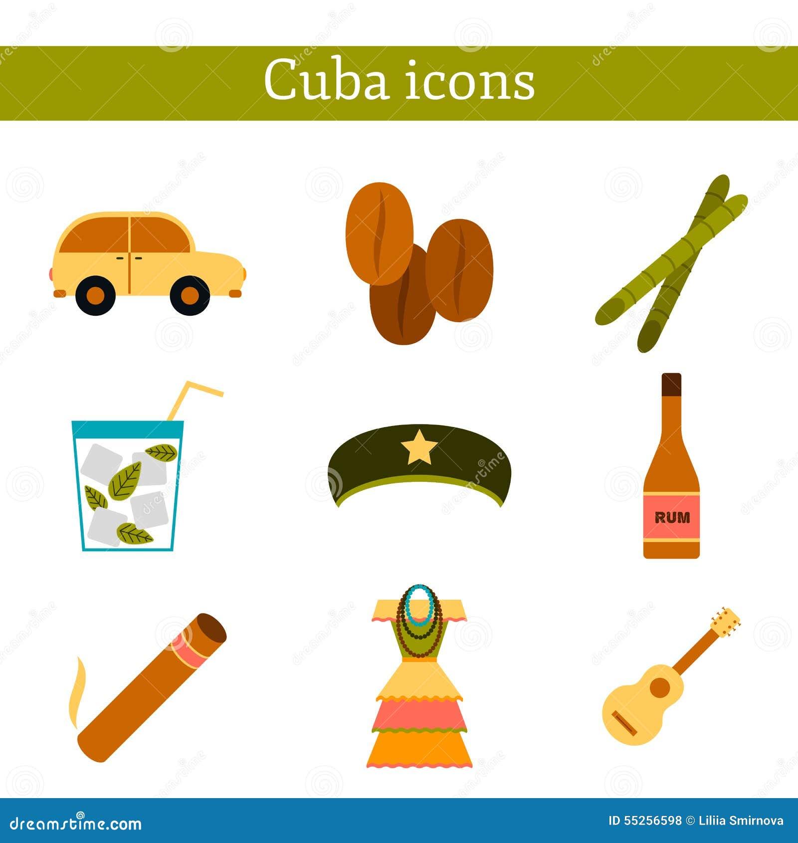 Uppsättning av plana färgrika symboler på Kubatema