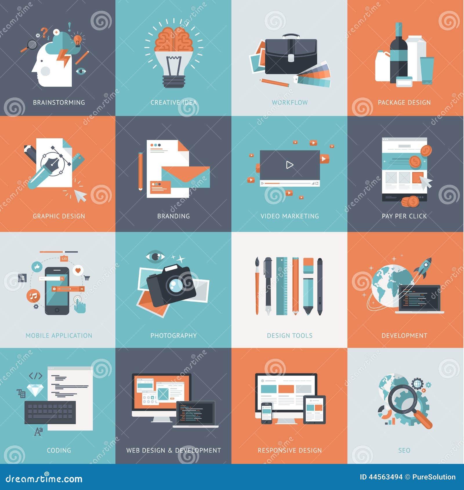 Uppsättning av plana symboler för designbegrepp för websiten och app-utveckling, grafisk design som brännmärker, seo